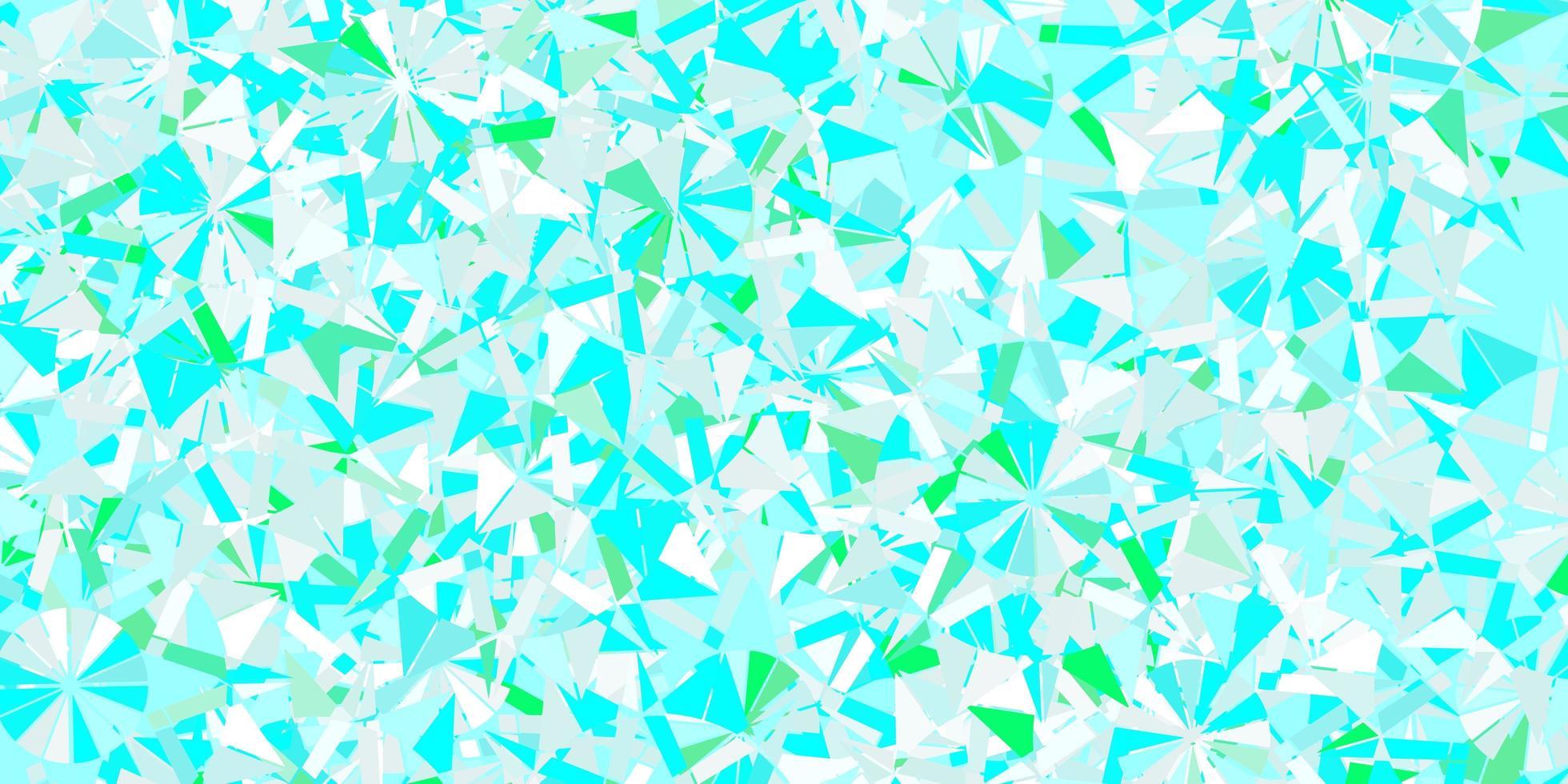 layout de vetor de azul claro e verde com flocos de neve lindos.