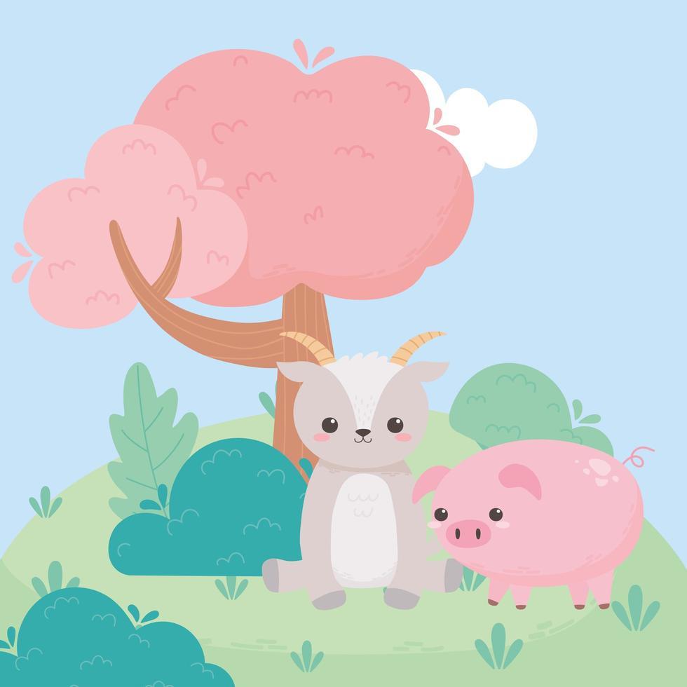 cabra fofa sentada e arbustos de árvore de porco grama desenhos animados animais em uma paisagem natural vetor
