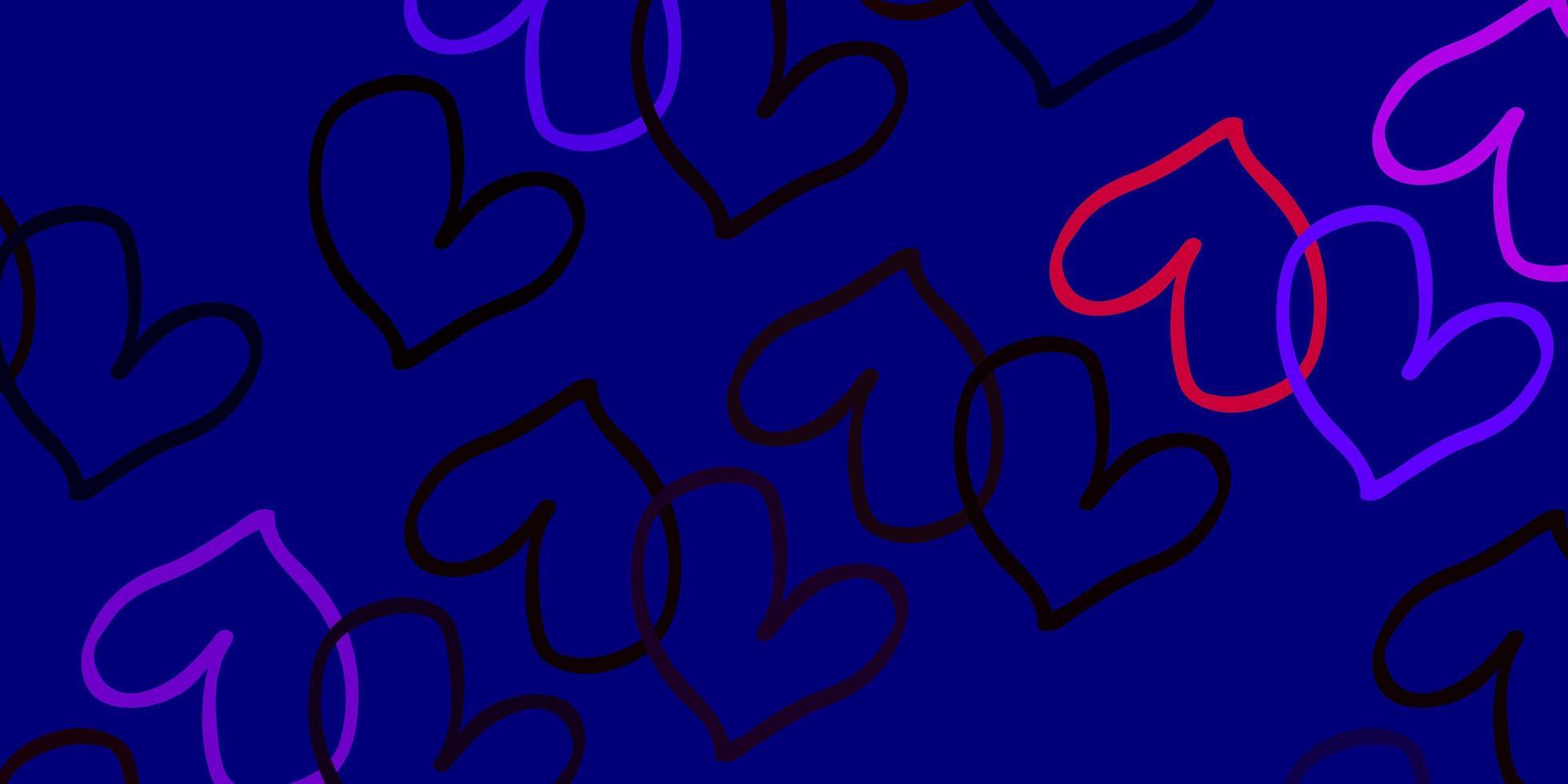 fundo vector rosa claro, vermelho com corações brilhantes.