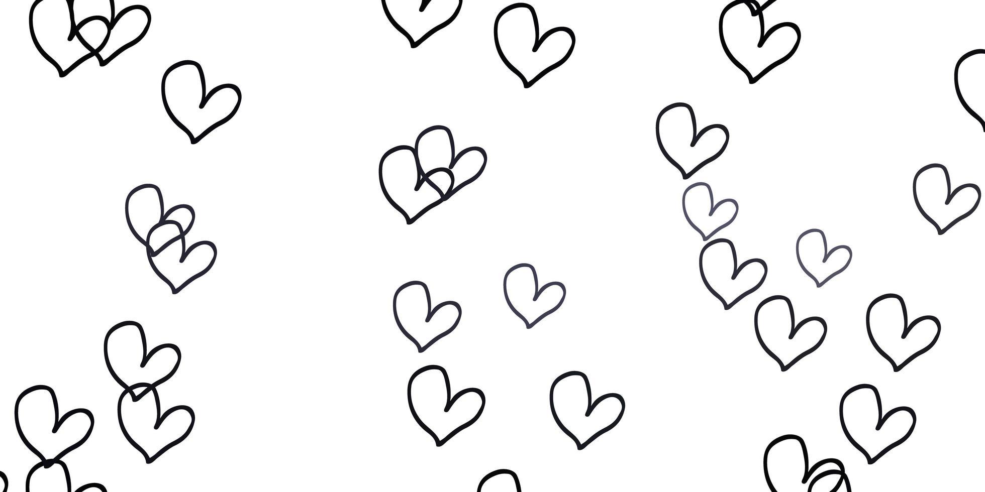 de fundo vector cinza claro com corações brilhantes.