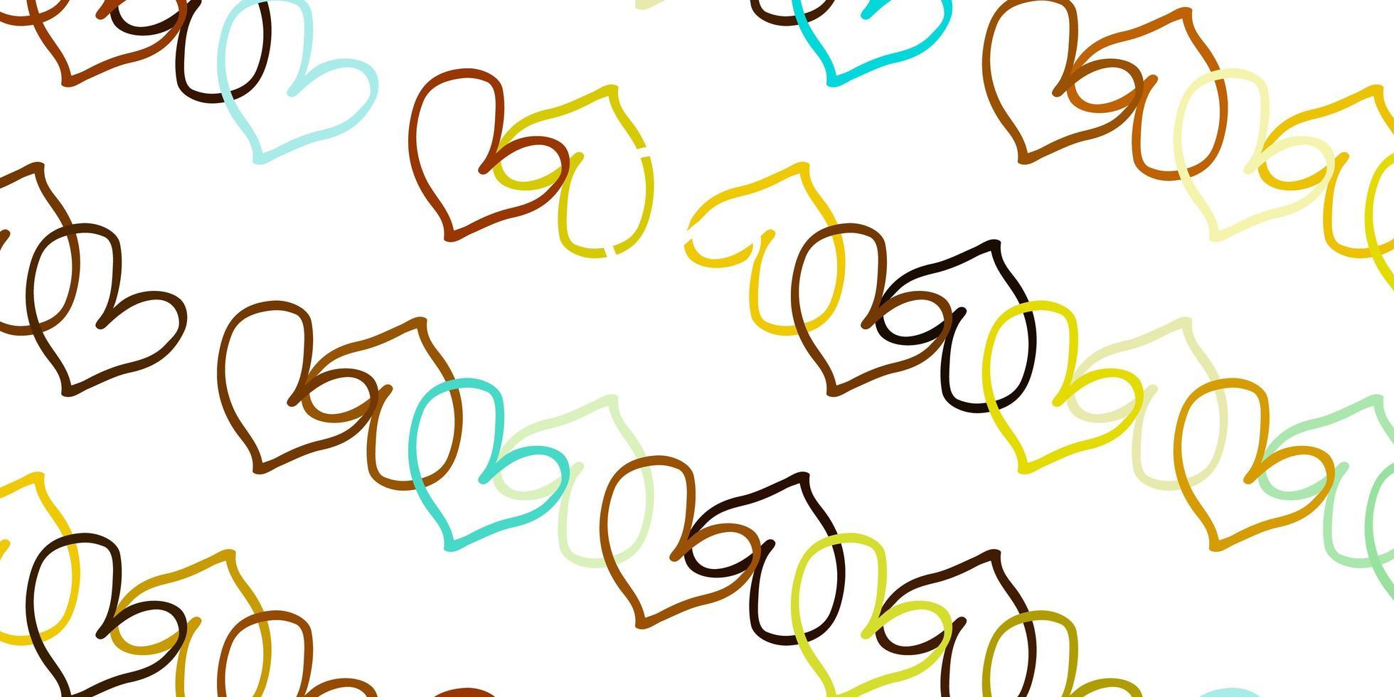 modelo de vetor azul claro e amarelo com corações de doodle