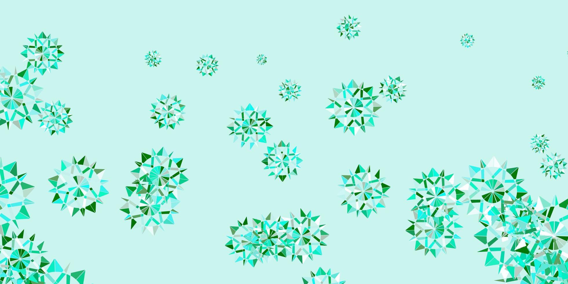 padrão de vetor verde claro com flocos de neve coloridos.