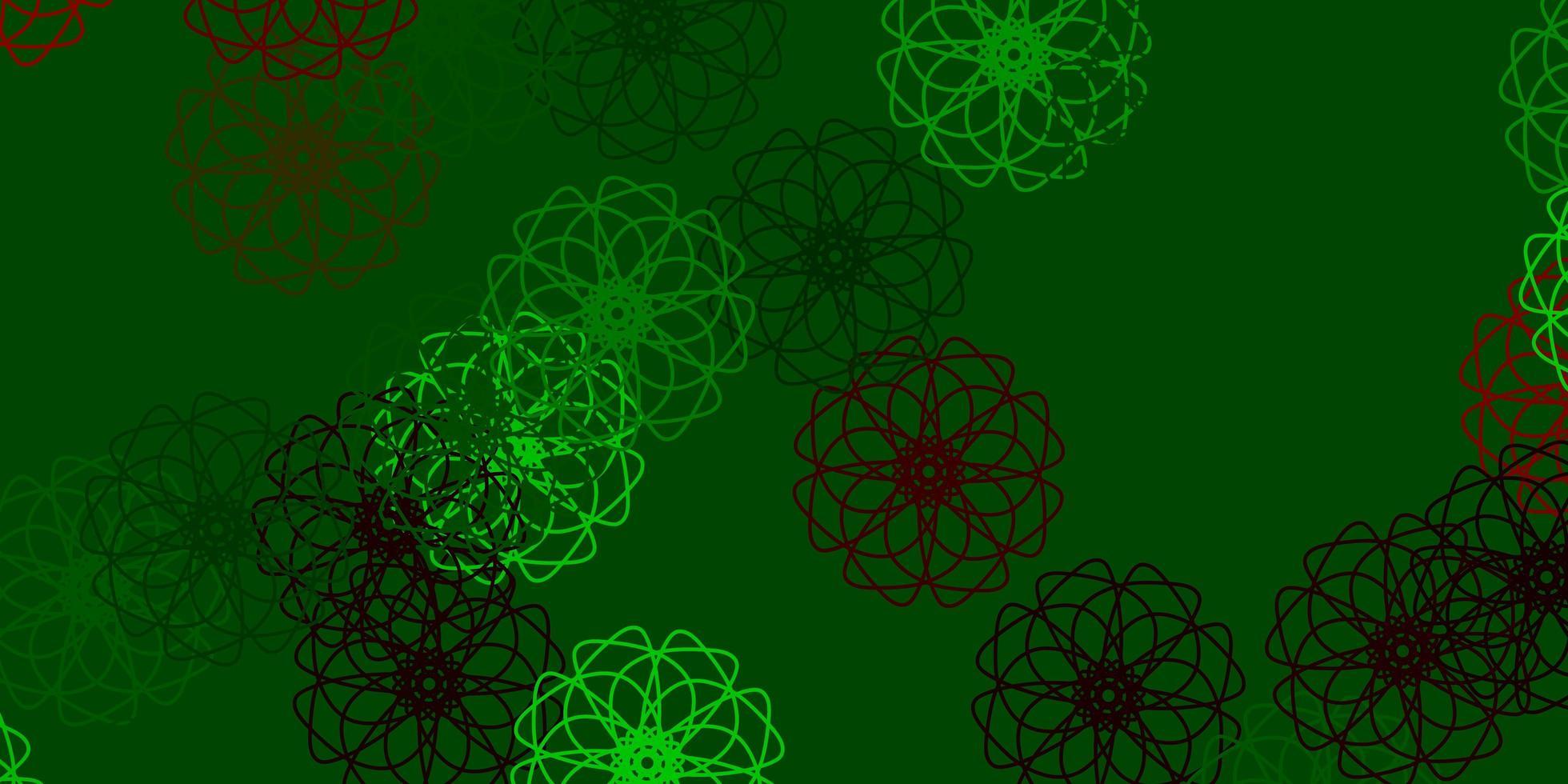layout natural do vetor verde e vermelho claro com flores.