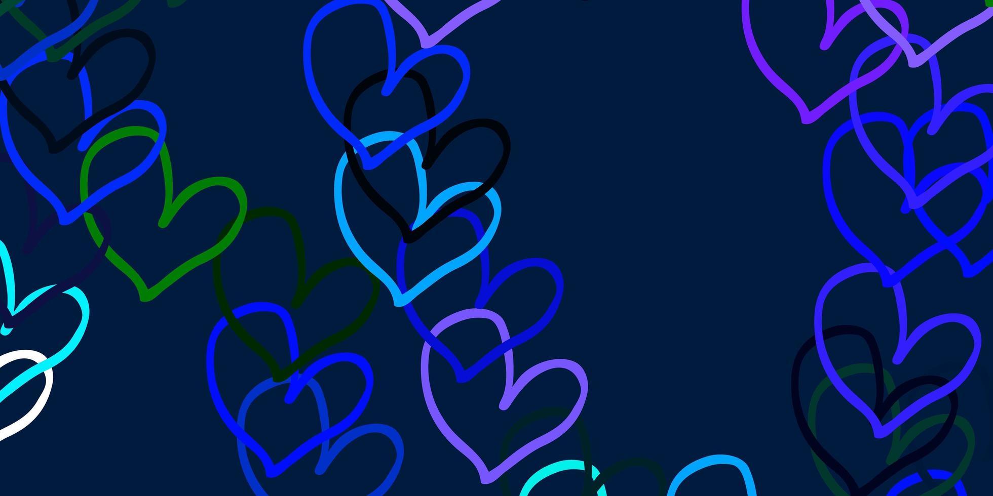 pano de fundo de vetor azul e verde claro com corações doces.