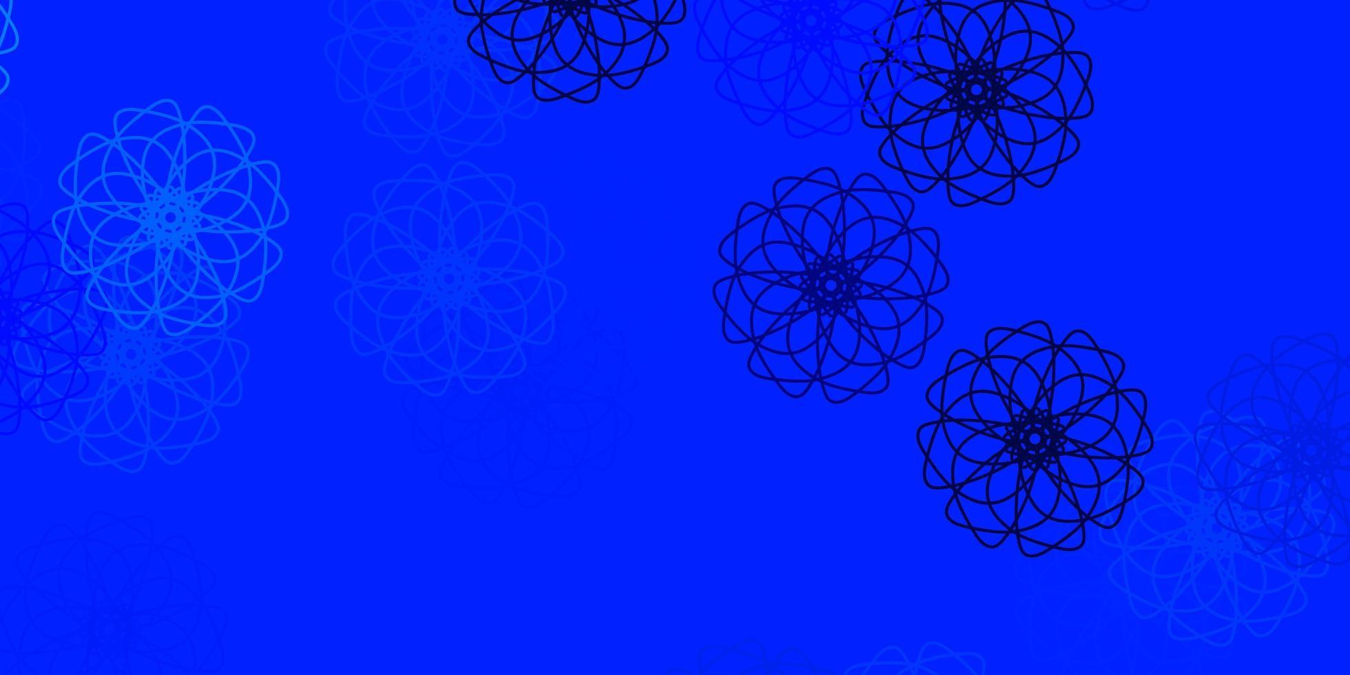 modelo de doodle de vetor azul claro com flores.