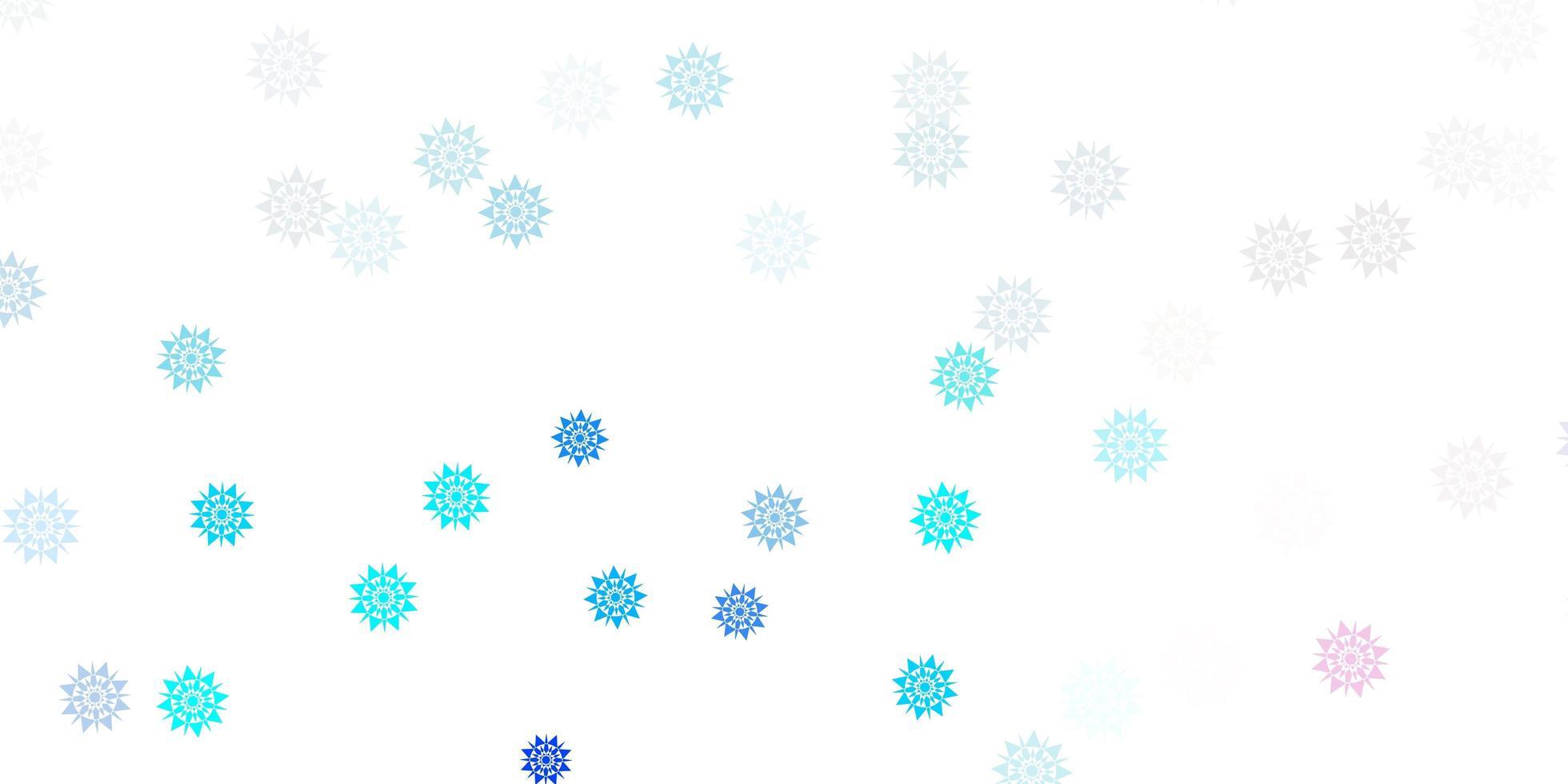 fundo vector rosa claro azul com flocos de neve de Natal.