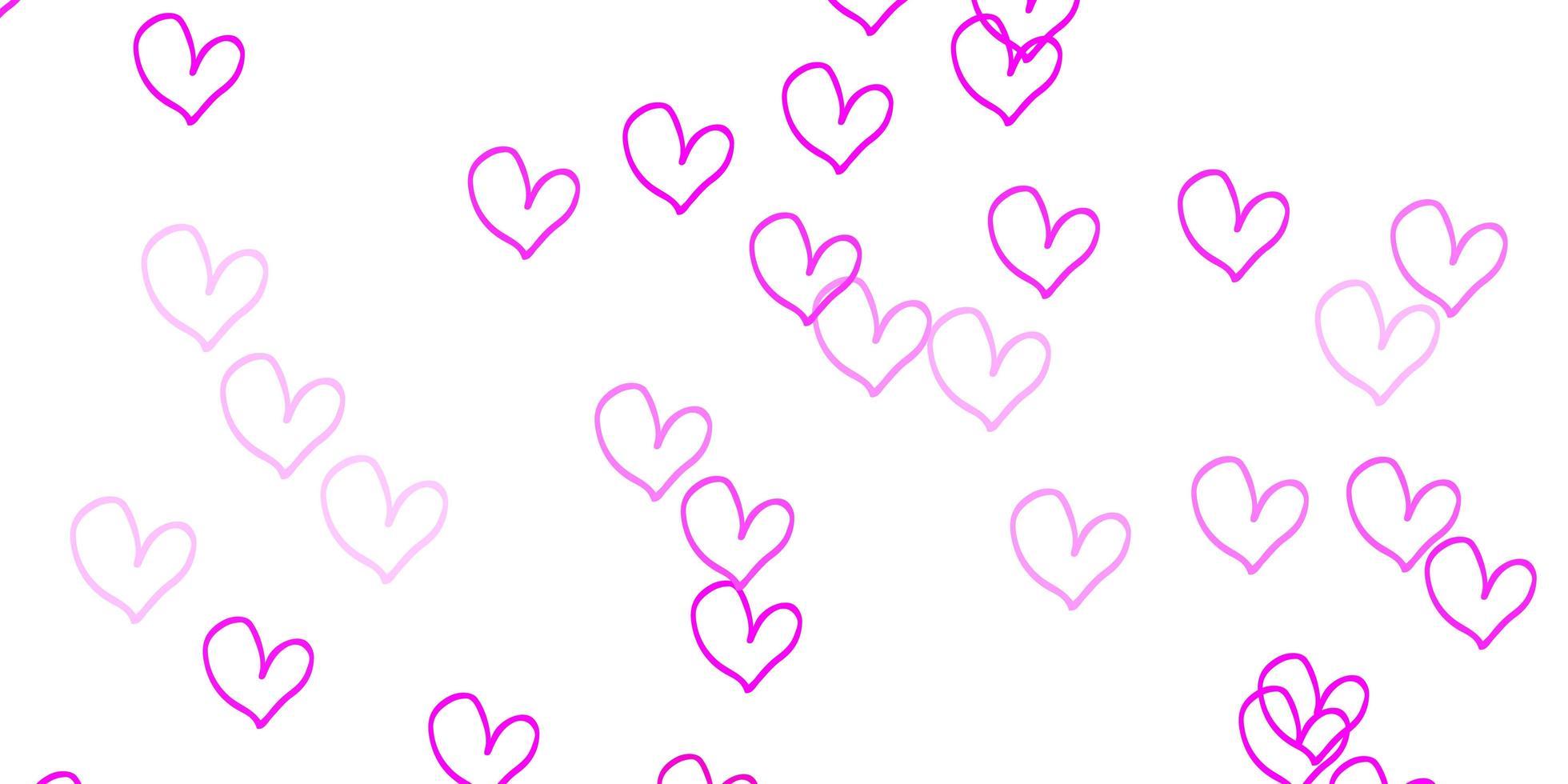 padrão de vetor rosa claro com corações coloridos.