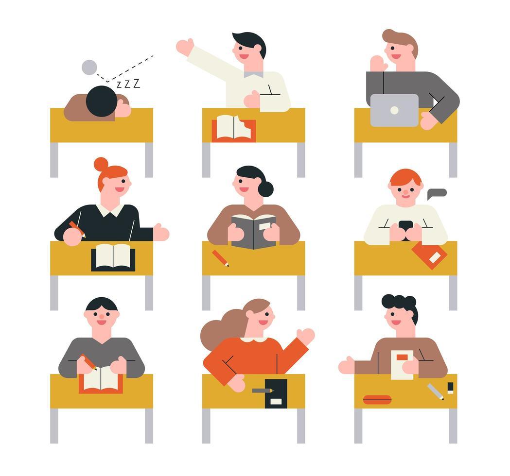 alunos em aula vetor