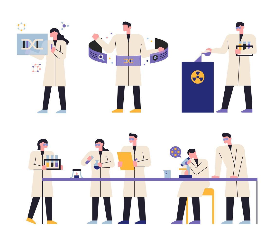 cientista em laboratório de ciências vetor