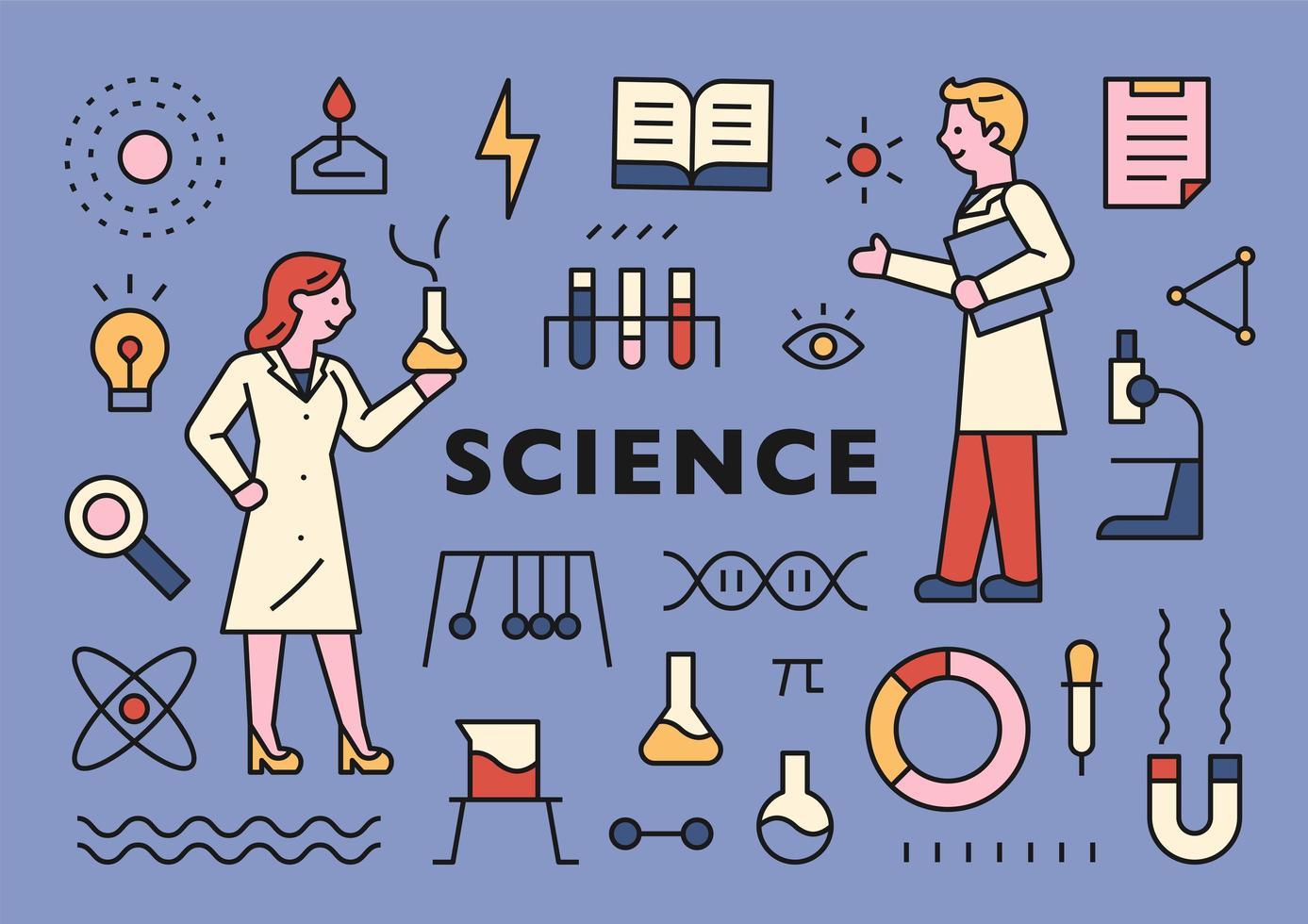 coleção de ícones de cientistas e ciências vetor