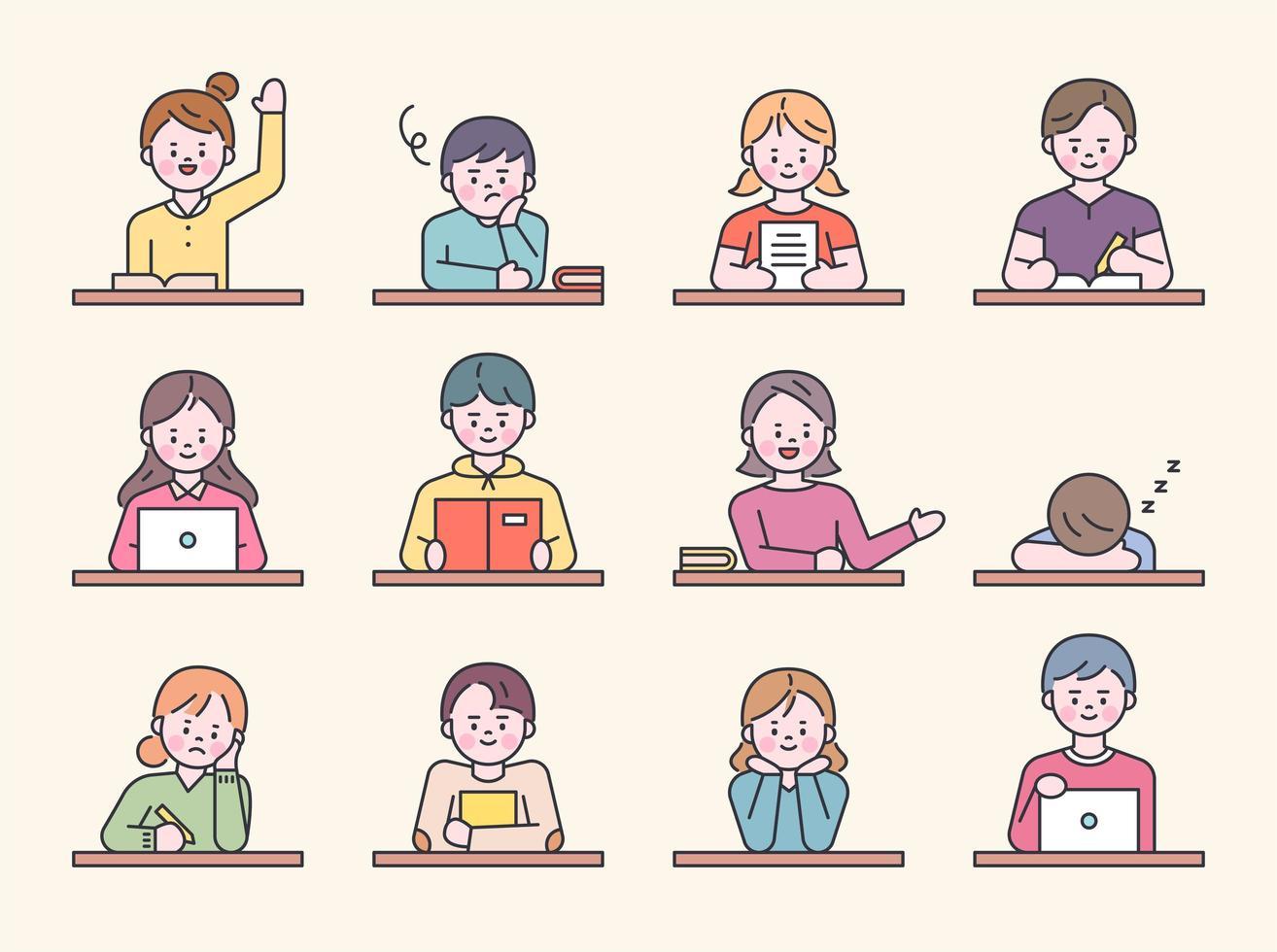 alunos sentados em carteiras na classe escolar. vetor
