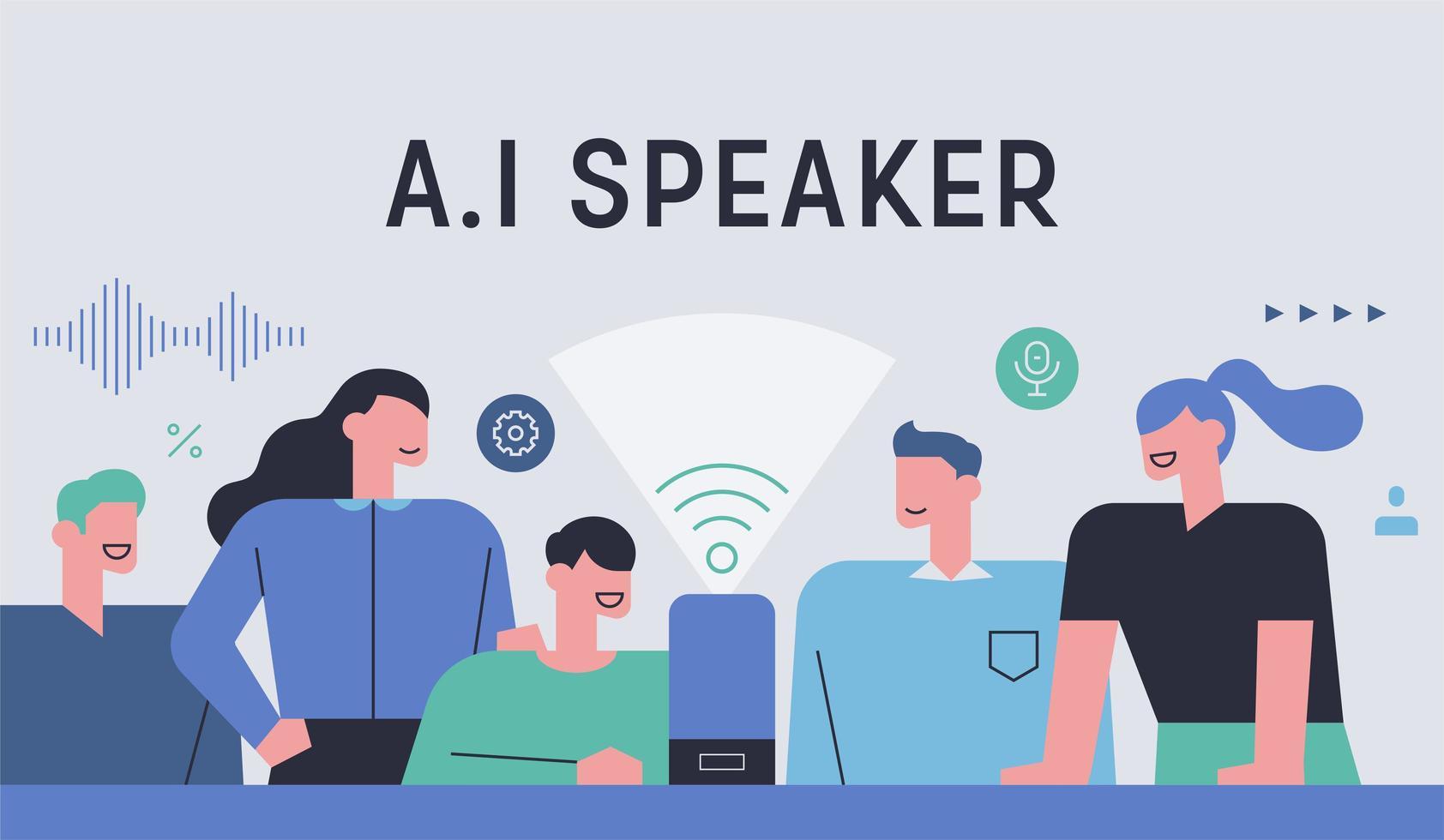 alto-falante AI e estilo de vida vetor