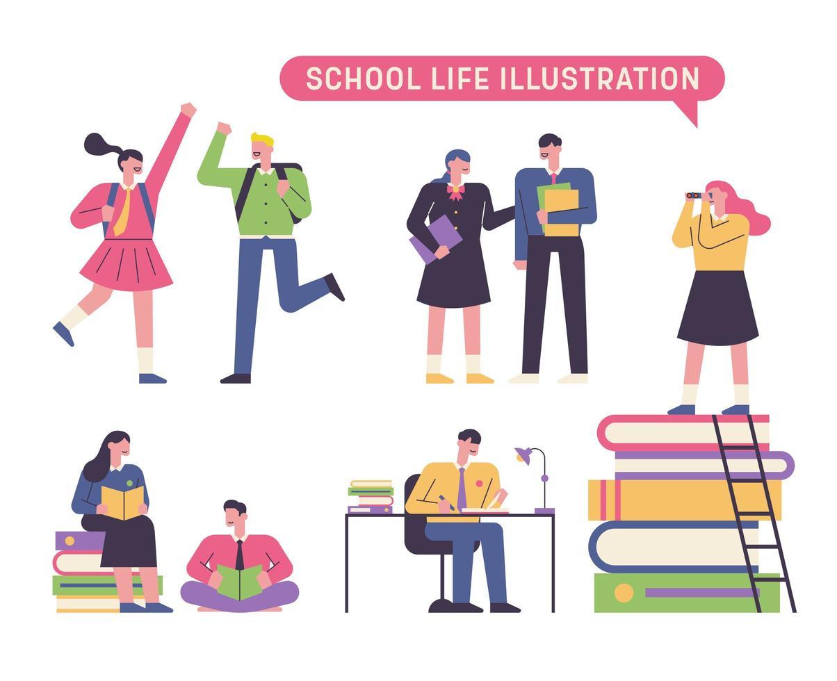 alunos da vida escolar vetor