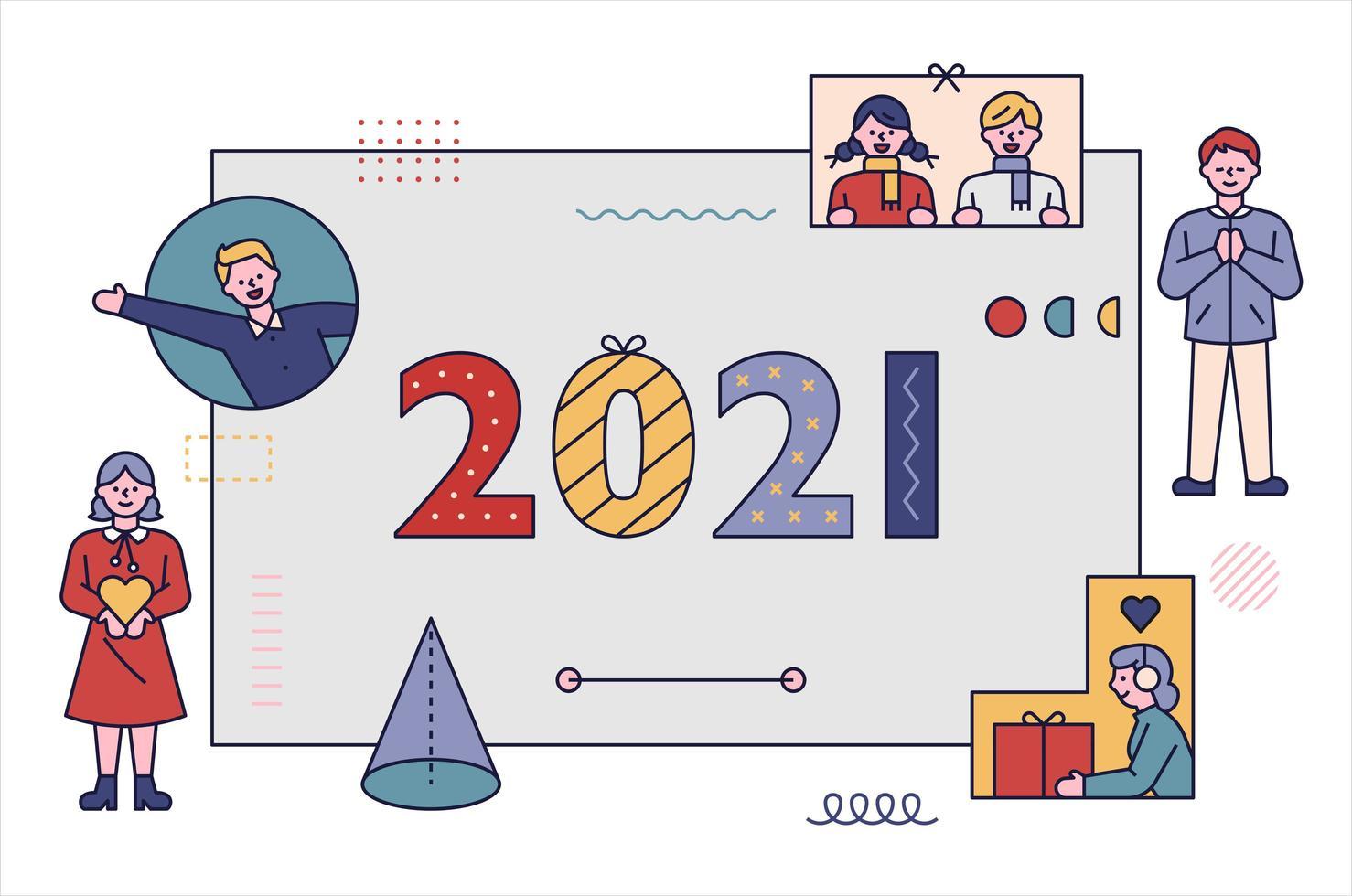 Pôster de ano novo de 2021. vetor