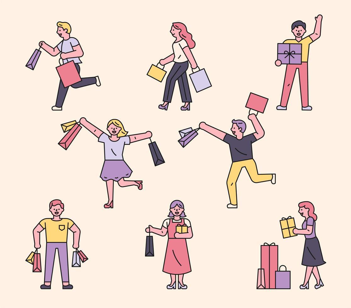 personagens de pessoas de compras vetor