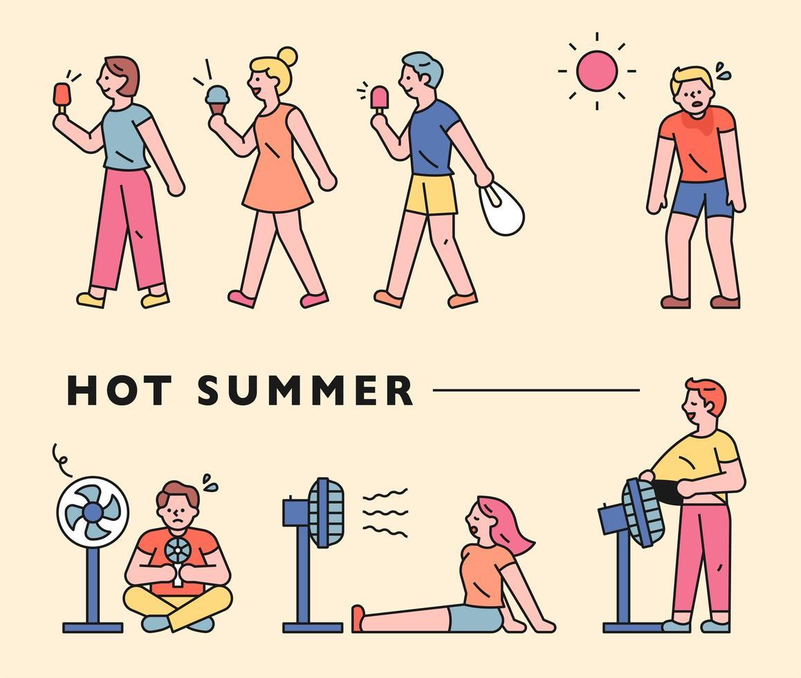 verão quente e pessoas. vetor