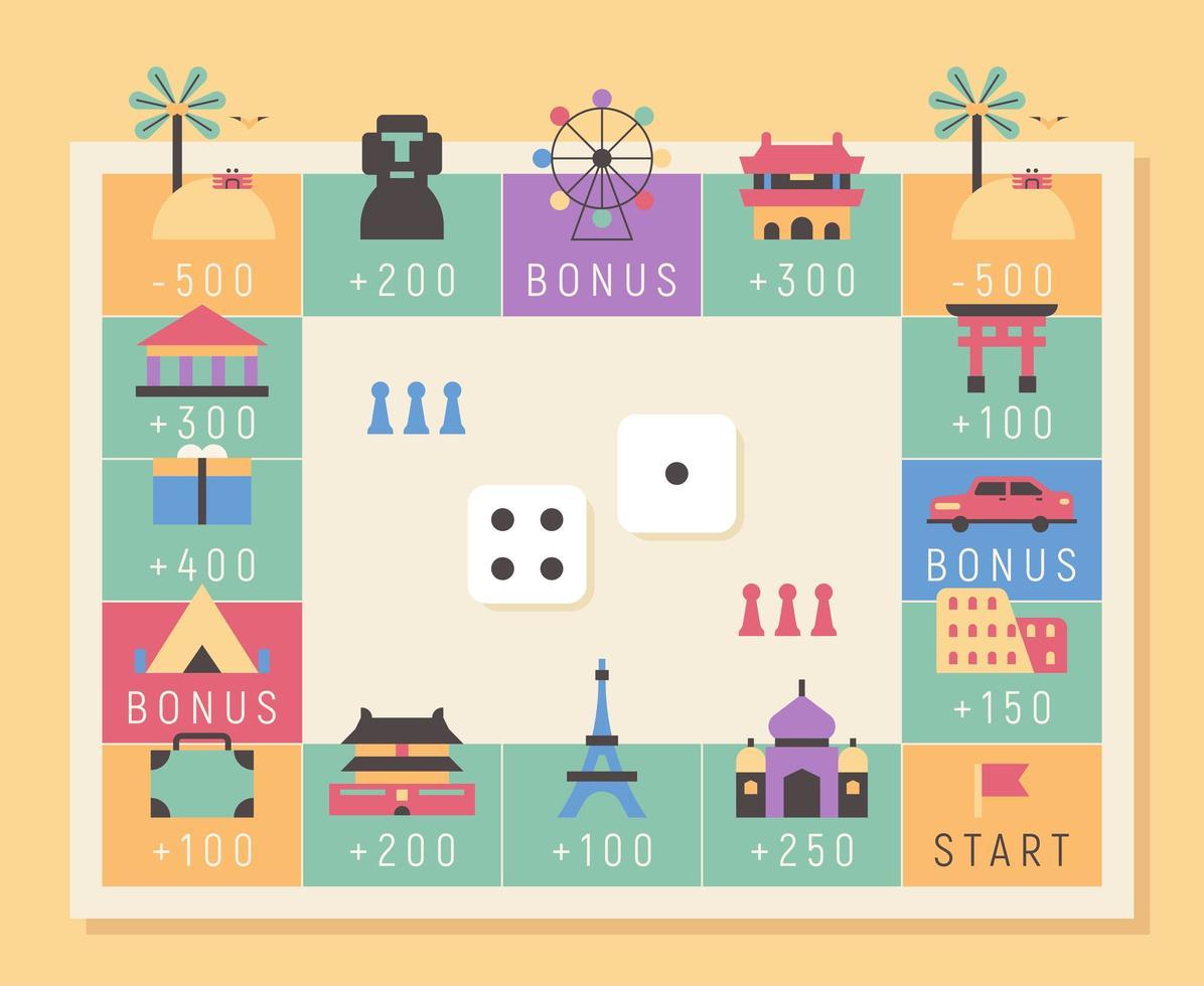 ilustração de turnê mundial do conceito de jogo de tabuleiro. vetor