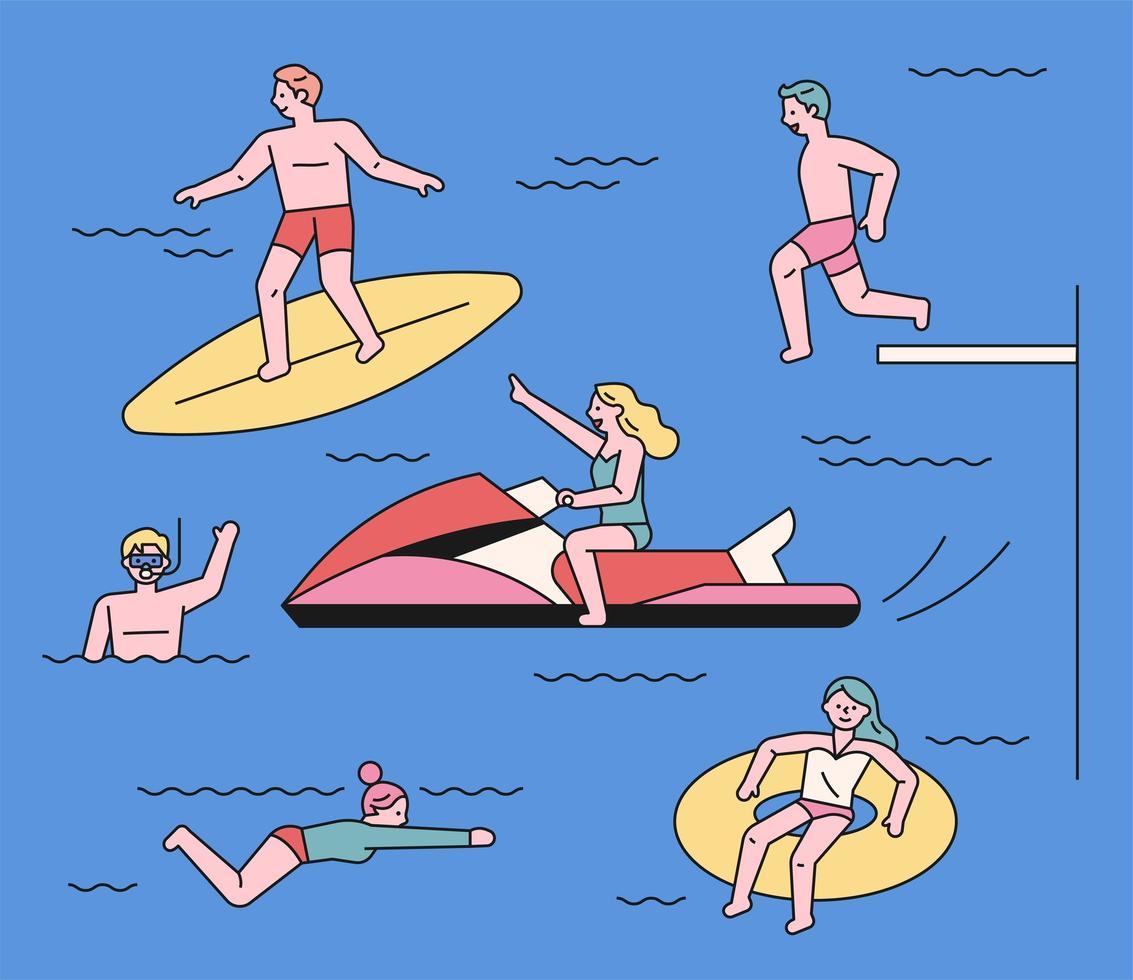 pessoas que gostam de brincar na água na praia. vetor