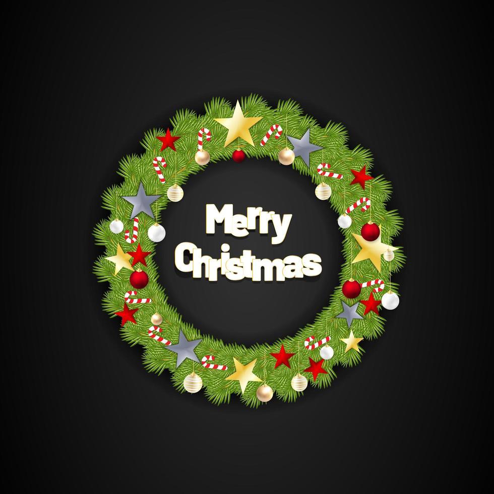 Feliz Natal redonda coroa de flores com estrelas e doces. ilustração vetorial com fundo preto vetor