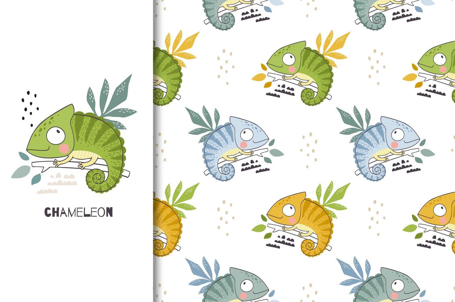 personagem camaleão bonito dos desenhos animados. cartão animal selva e padrão de fundo sem emenda. vetor