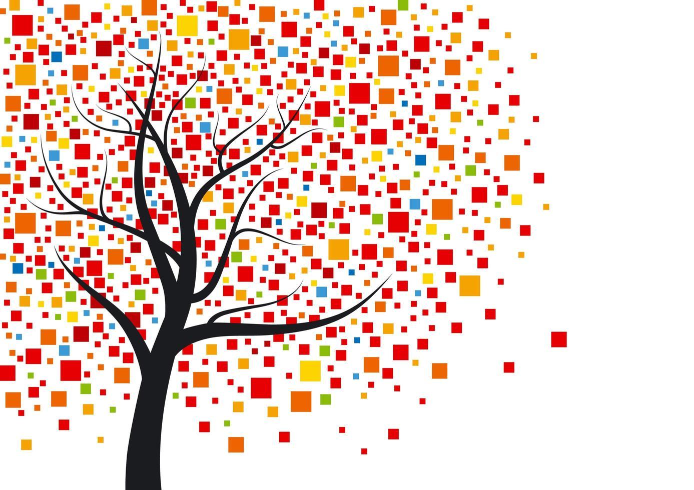desenho de árvore de mosaico vetor