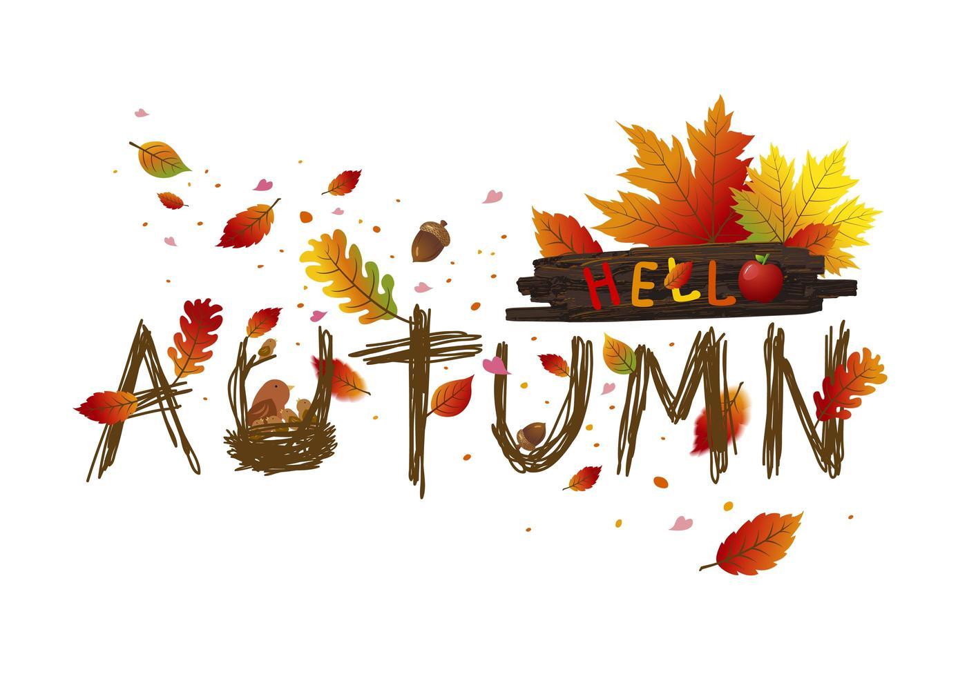 Olá design de cartão de folhas de outono vetor