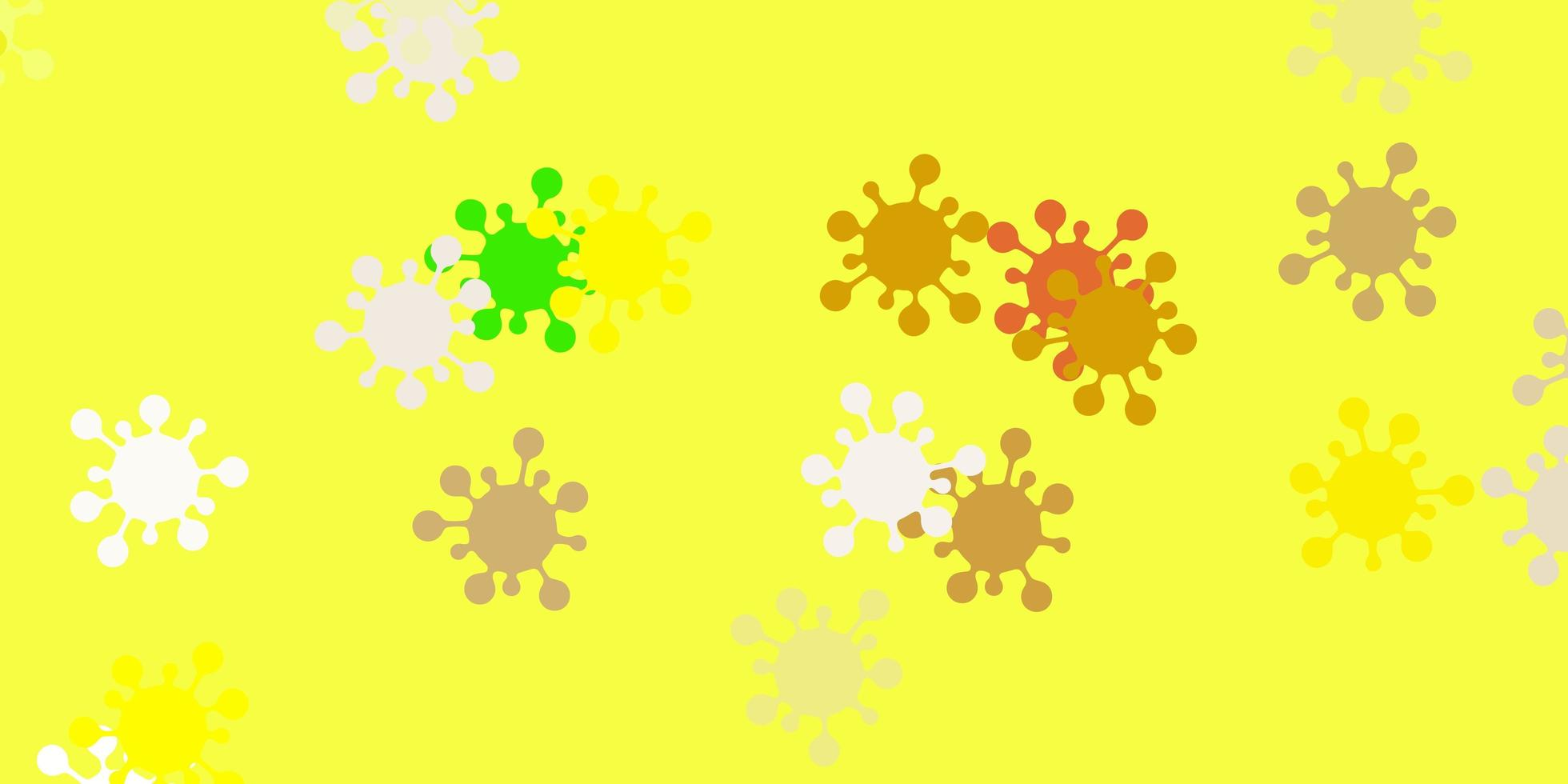 pano de fundo de vetor verde claro e amarelo com símbolos de vírus