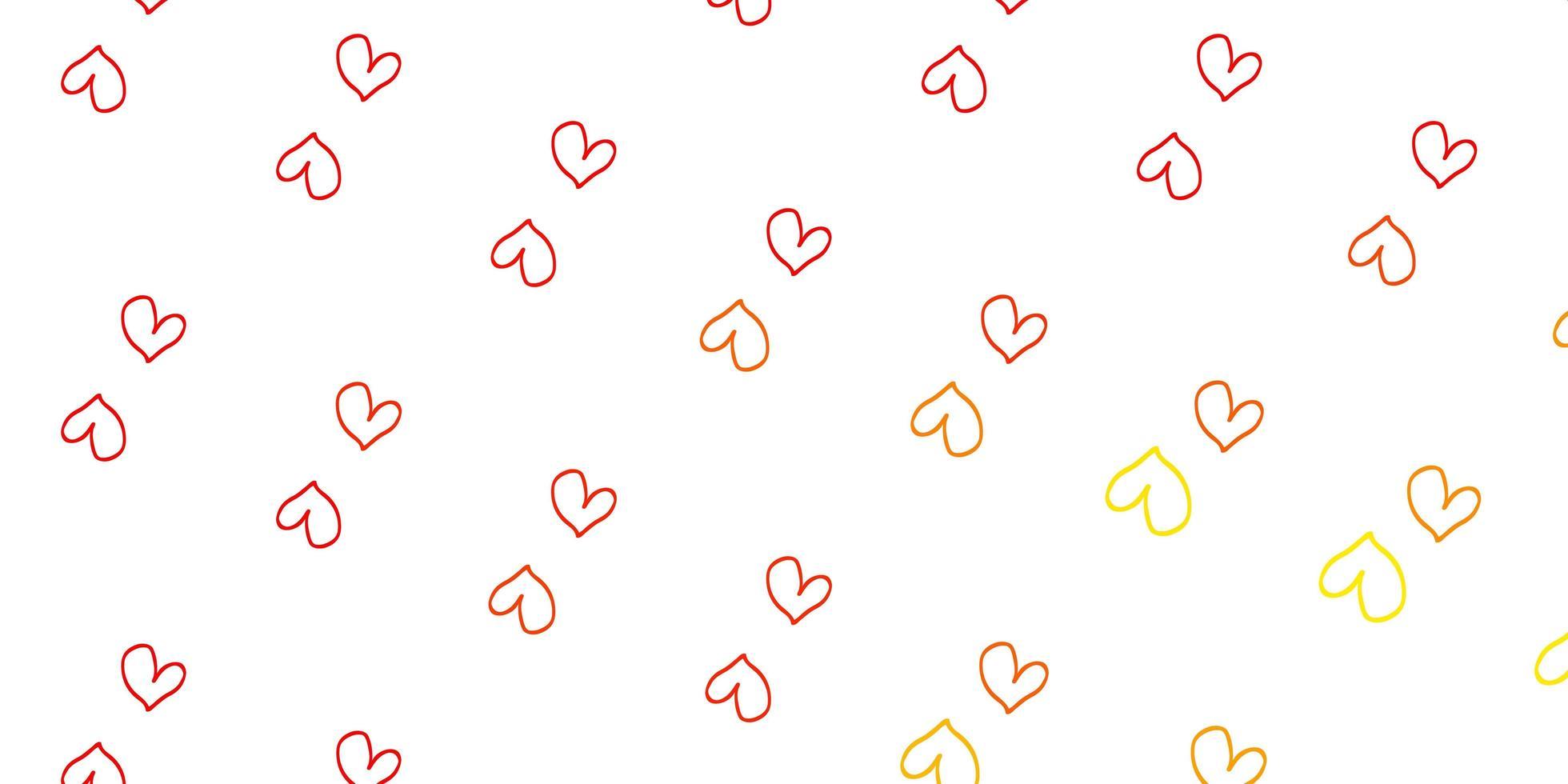textura vector vermelho, amarelo claro com corações adoráveis.