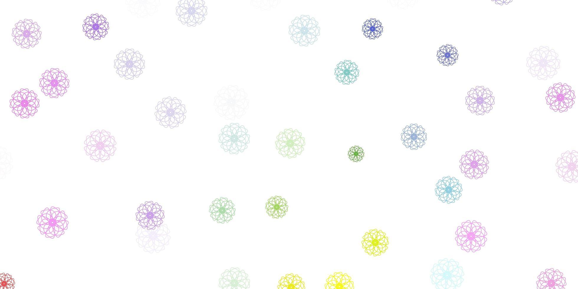 modelo de doodle de vetor multicolor luz com flores.
