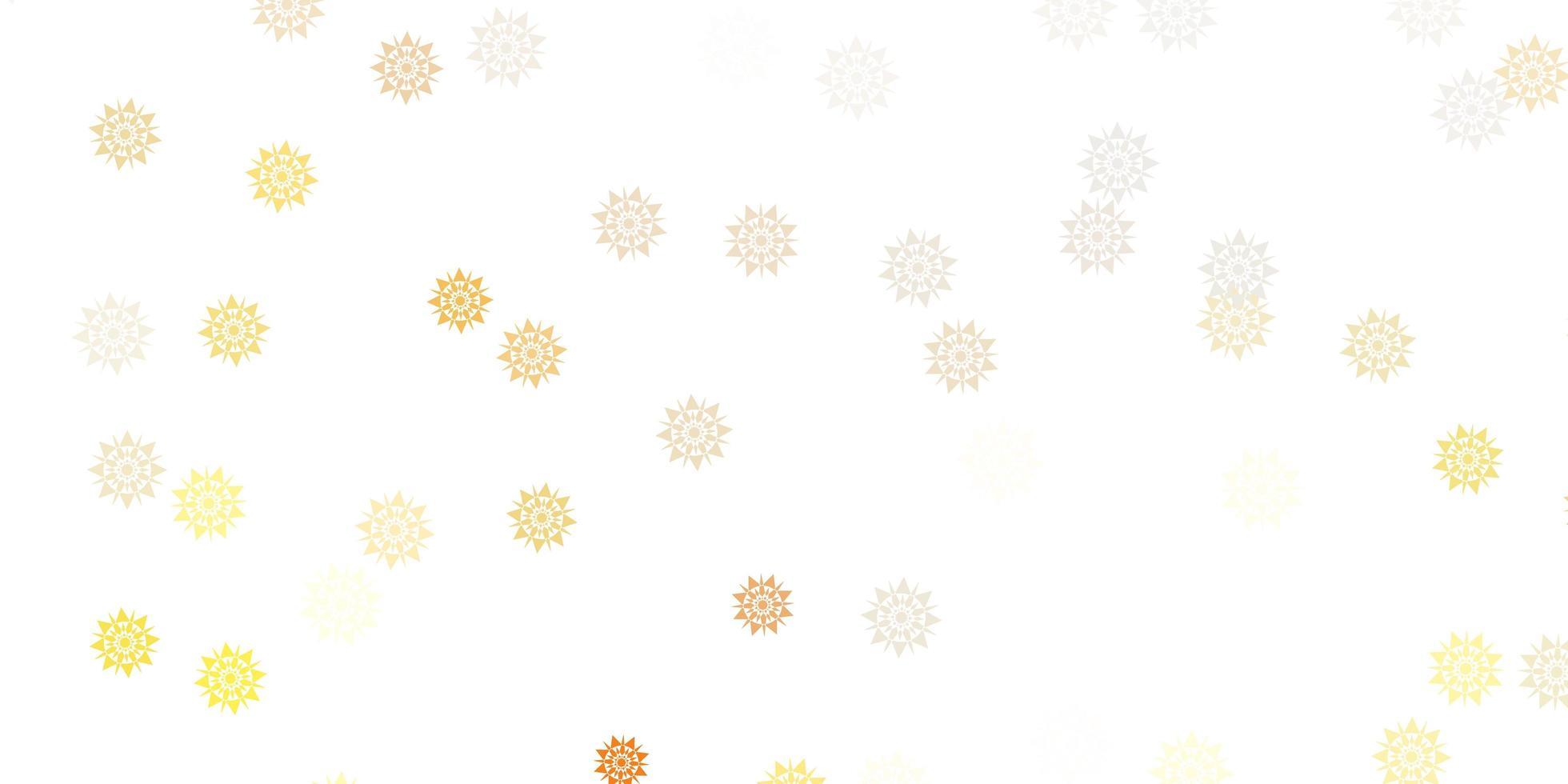 fundo vector laranja claro com flocos de neve de Natal.