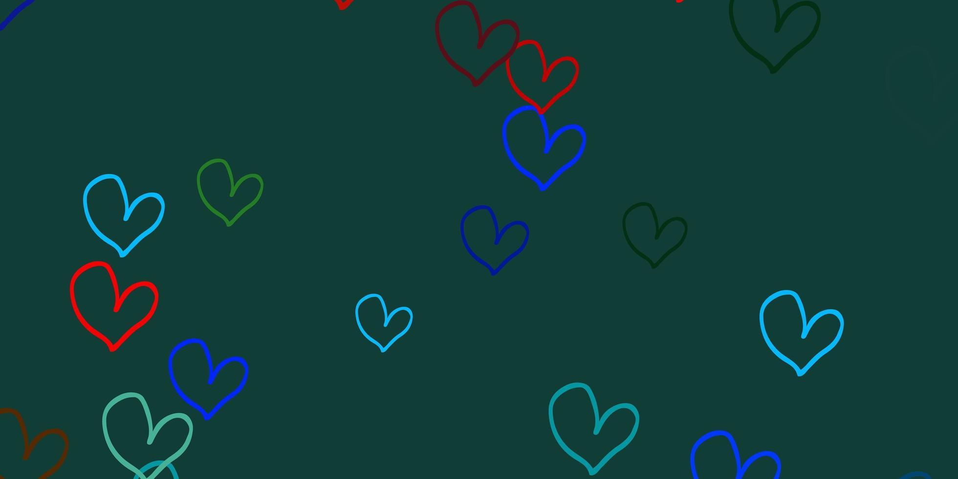 luz de fundo vector multicolor com corações.