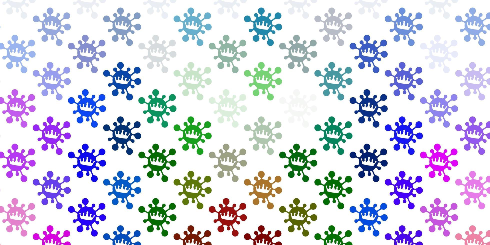pano de fundo de luz multicolorida com símbolos de vírus vetor