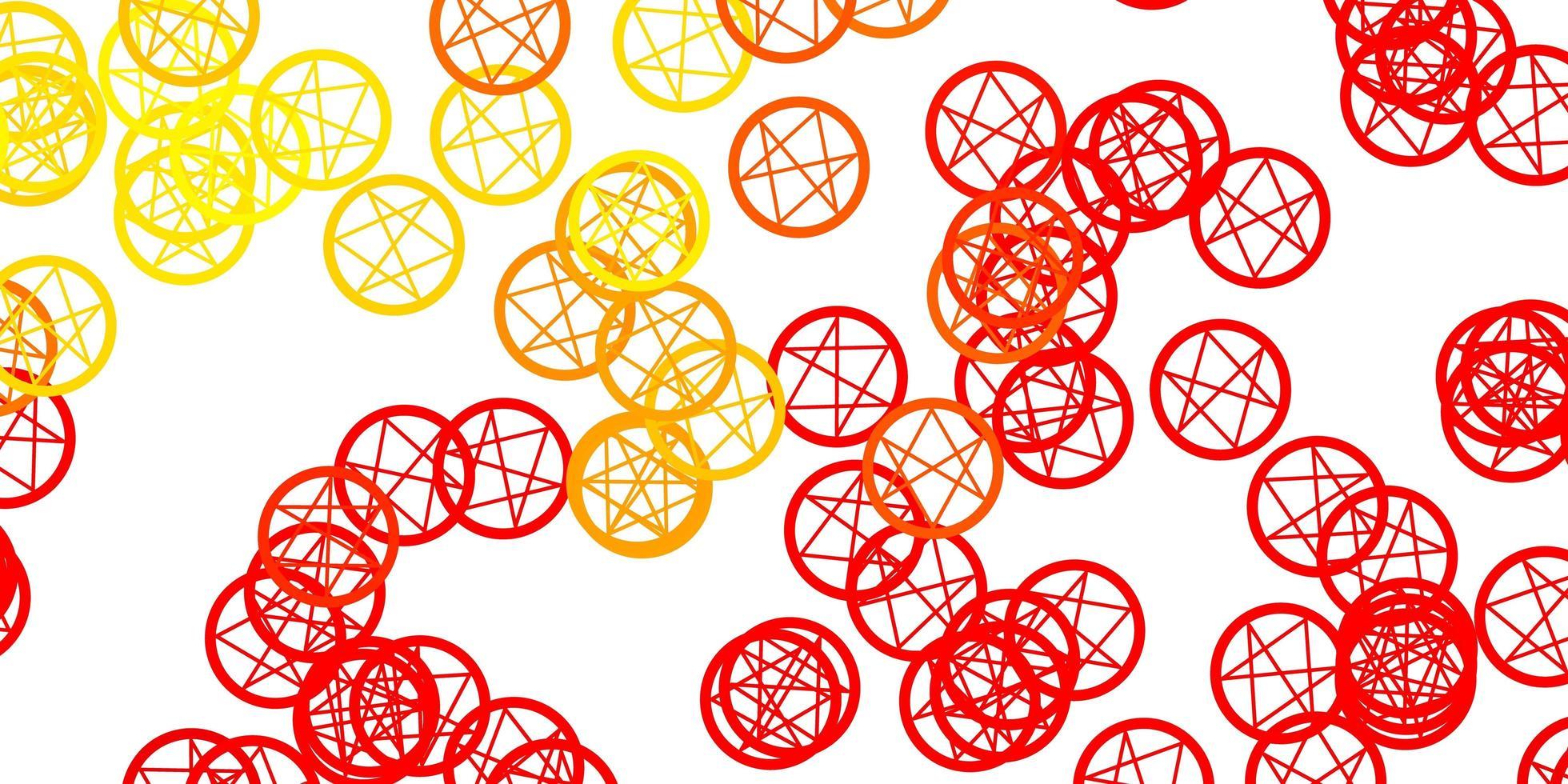 pano de fundo de vetor vermelho e amarelo claro com símbolos de mistério.