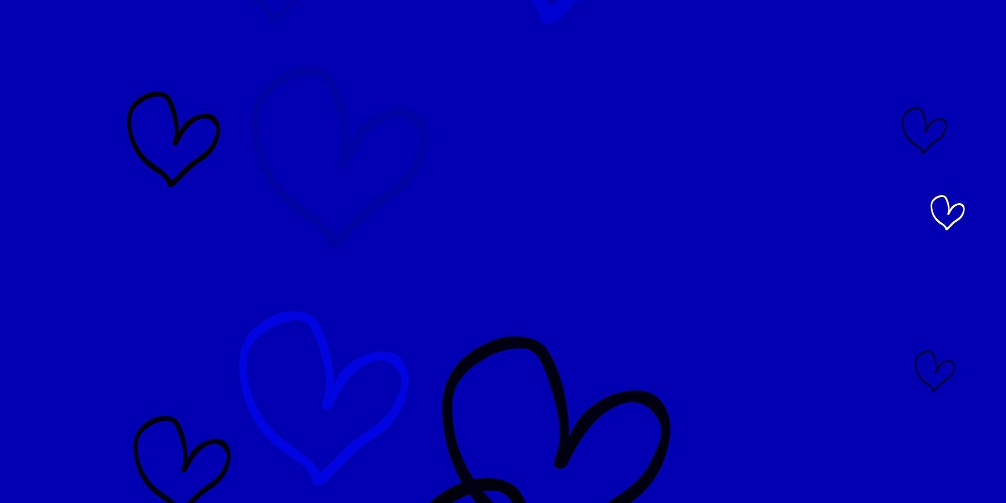 pano de fundo azul claro com corações doces. vetor