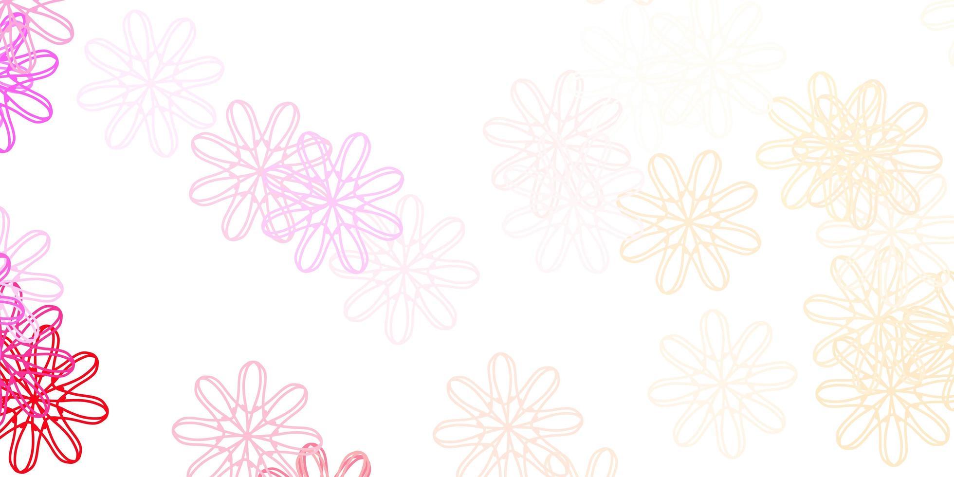 textura de doodle de vetor rosa claro com flores.
