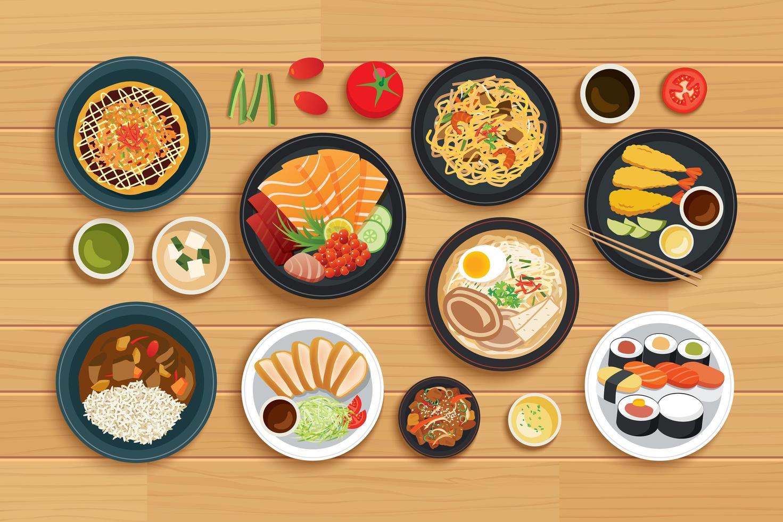 comida japonesa no fundo de madeira de vista superior. vetor