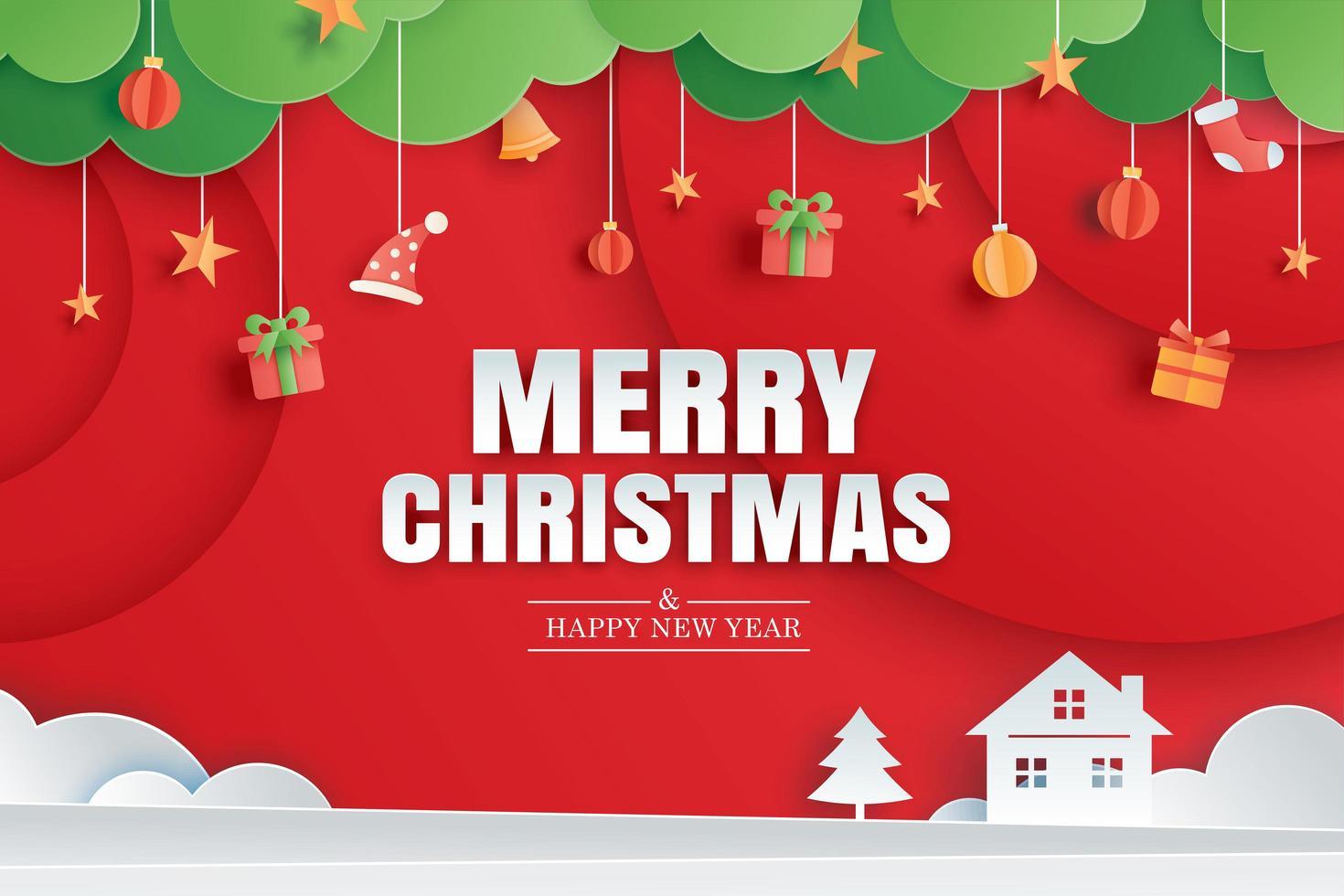 Feliz Natal e feliz ano novo cartão vermelho no modelo de banner de papel de arte. usar para cartaz, capa, folheto. vetor
