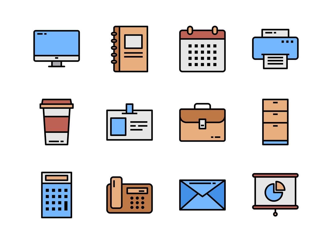 ícone do escritório definir estilo de colorline. símbolos para site, revista, aplicativo e design. vetor