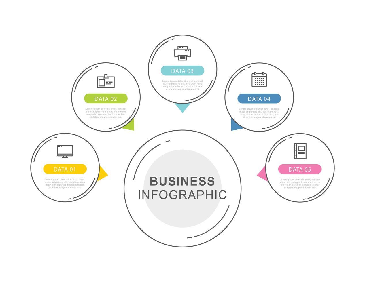 Modelo de infográficos de cronograma de dados de 5 círculos com design de linha fina. ilustração vetorial fundo abstrato. pode ser usado para layout de fluxo de trabalho, etapa de negócios, banner, design de web. vetor
