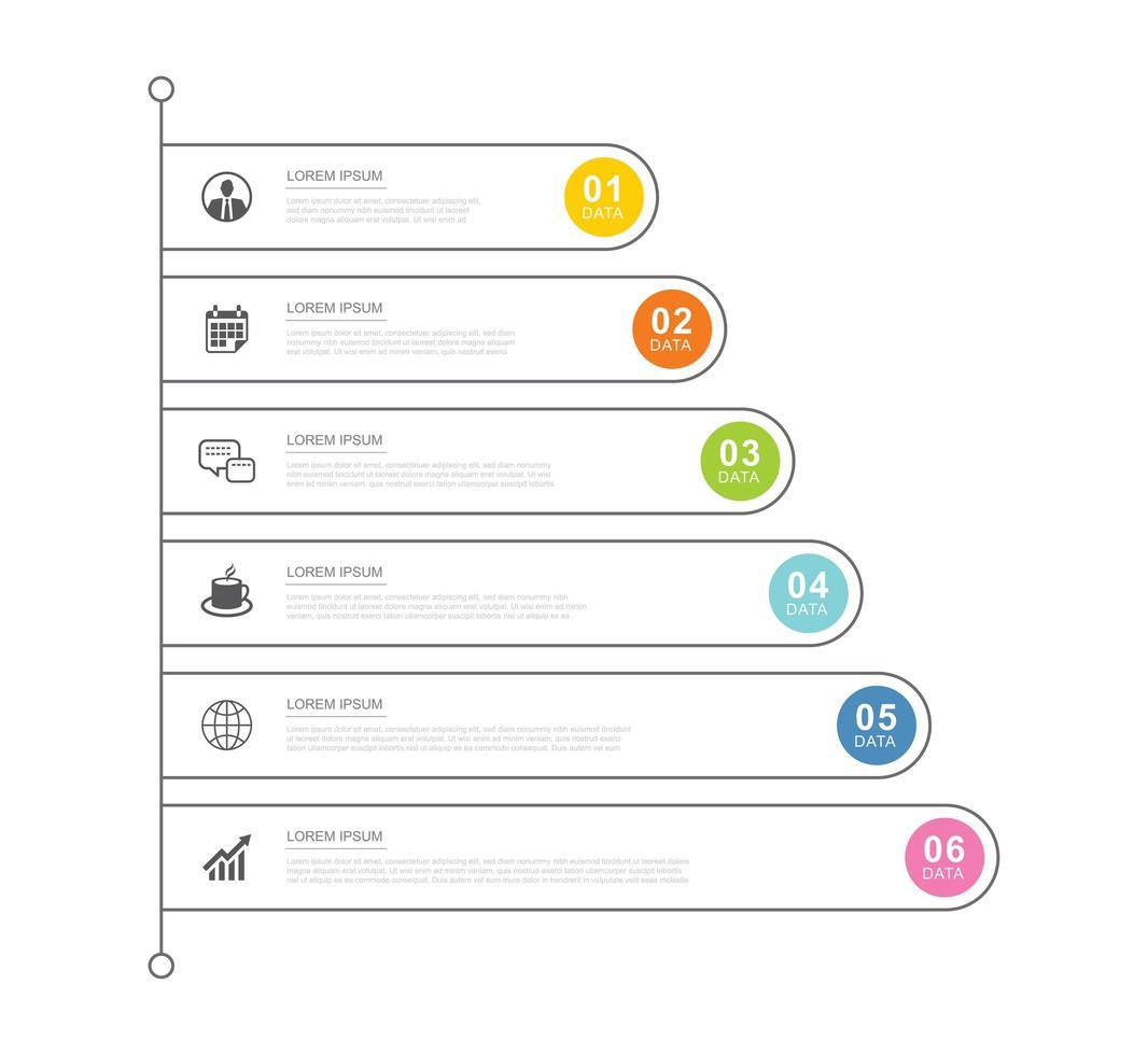 6 modelo de infográficos de negócios de dados com design de linha fina vetor