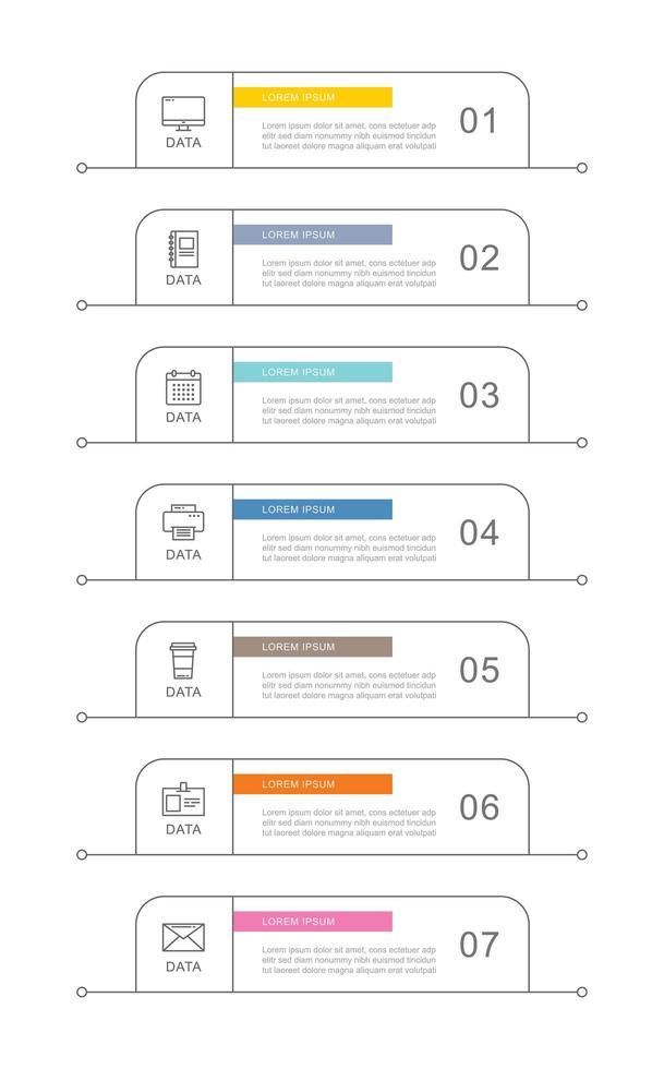 Modelo de infográficos de negócios de 7 dados com design de linha fina vetor