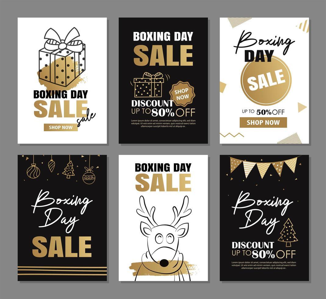 desenho de banner de venda de boxing day com modelos de decoração de ouro vetor