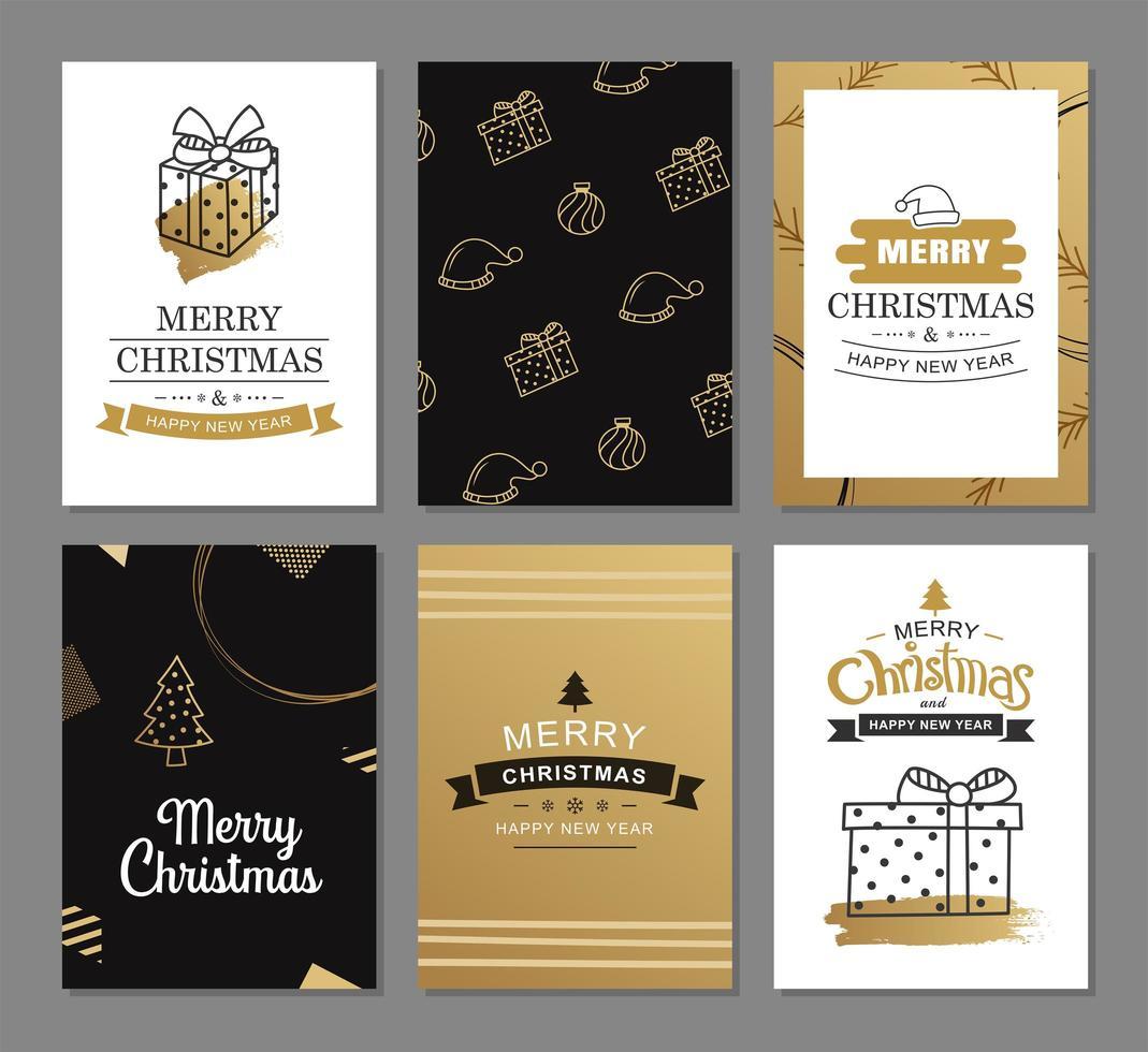 cartões de feliz Natal com modelos de decoração de luxo ouro. conjunto de cartazes de férias, tag, banner, design de cartão postal. vetor