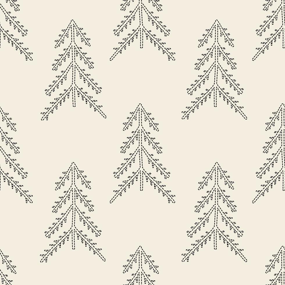 Seamless pattern background com contorno monocromático pinheiro vetor