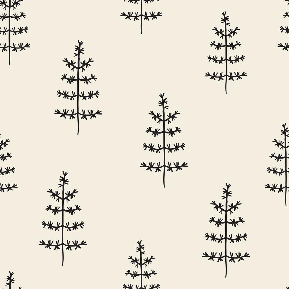 Seamless pattern background com mão desenhar pinheiro vetor