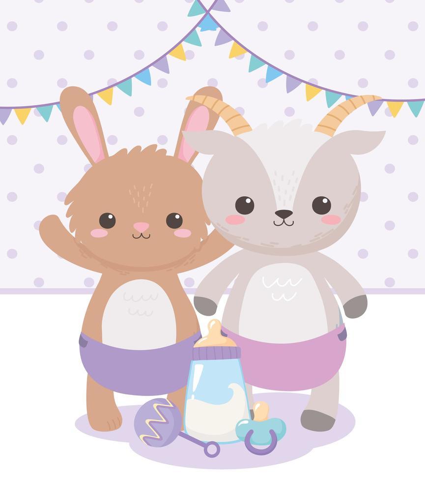 chá de bebê, cabra coelho fofo com chocalho e leite de mamadeira, festa de boas-vindas ao recém-nascido vetor