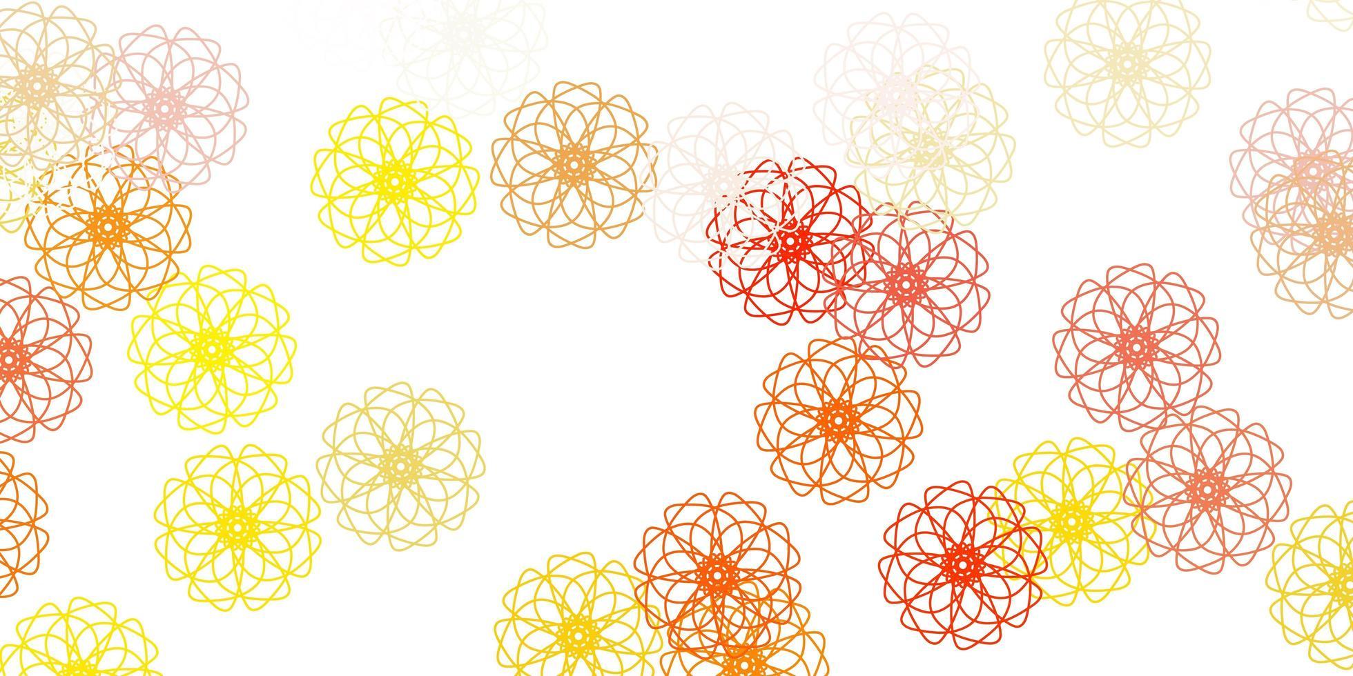 textura de doodle de vetor laranja claro com flores.