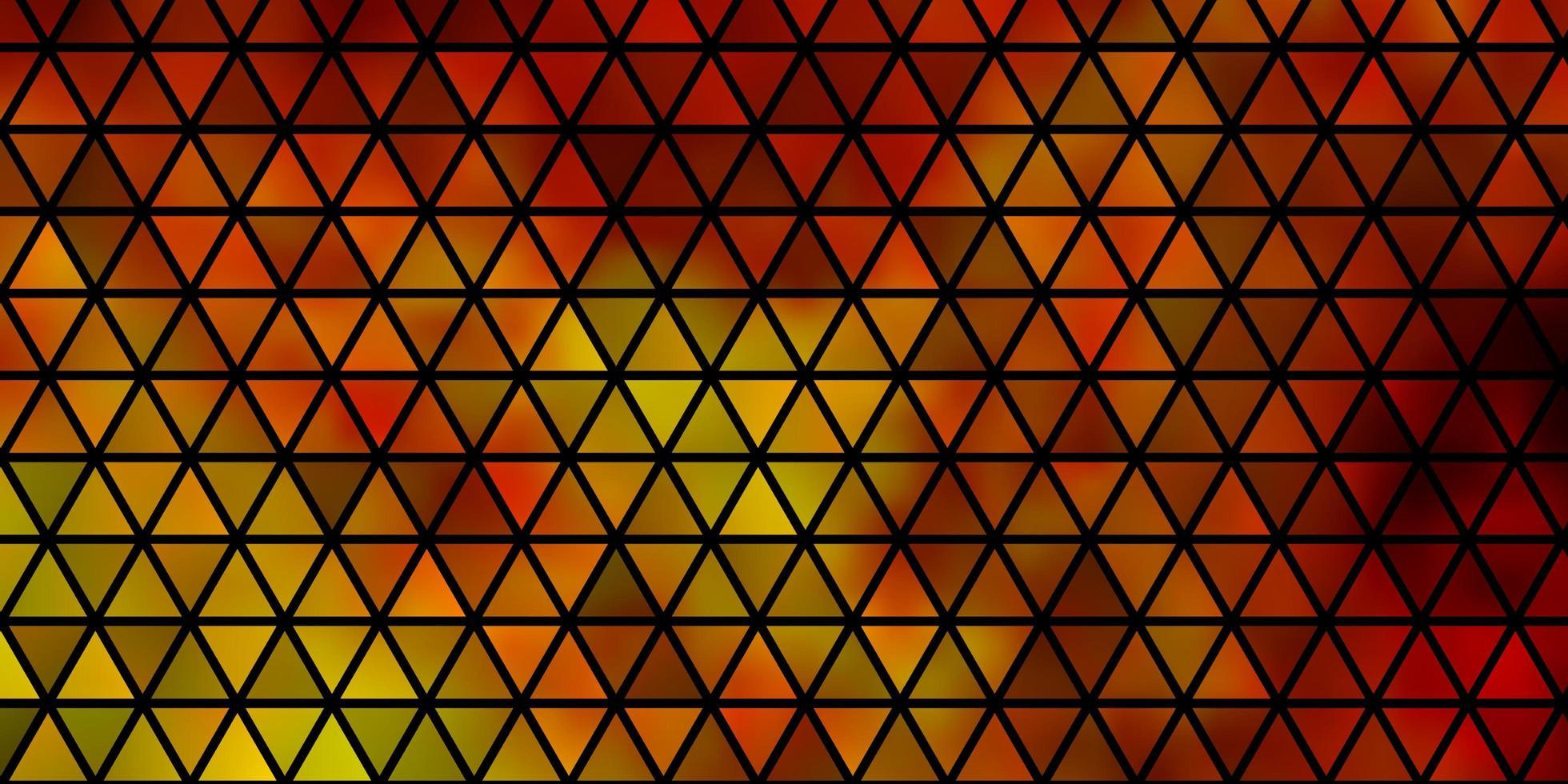 pano de fundo vector laranja claro com linhas, triângulos.