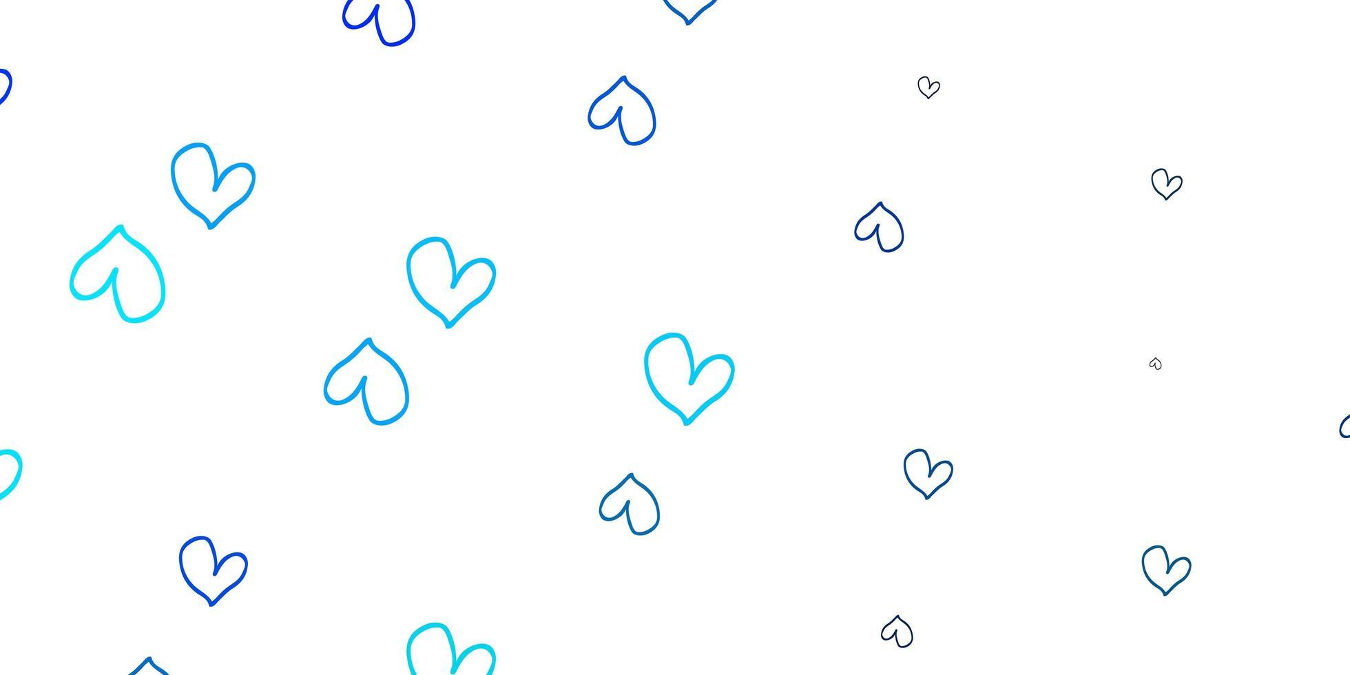padrão de vetor azul claro com corações coloridos.