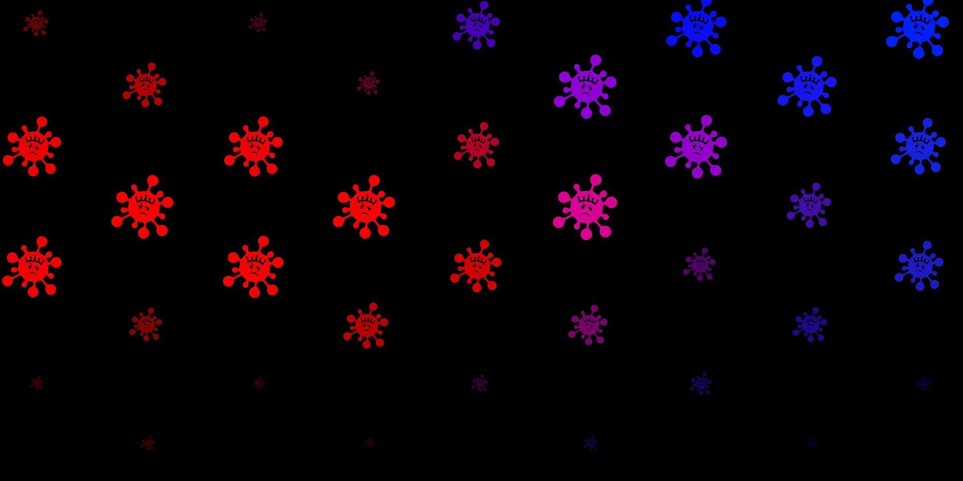 padrão de vetor azul escuro e vermelho com elementos de coronavírus.